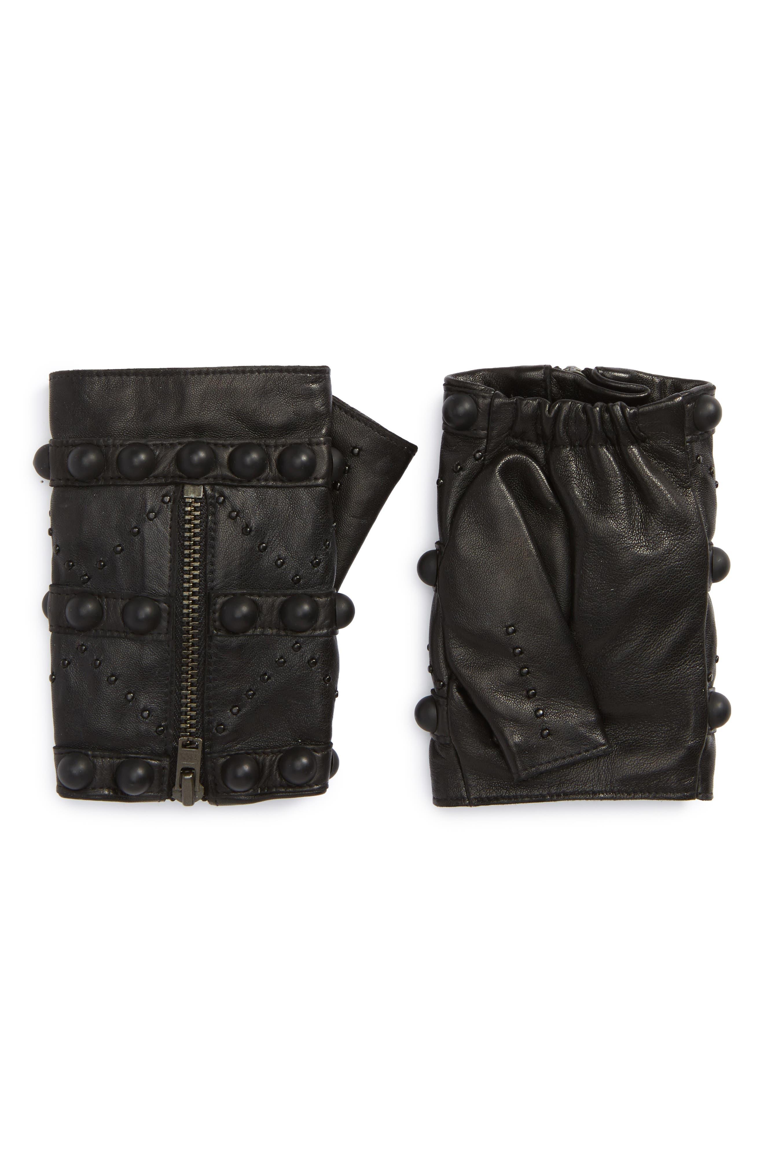 Lambskin Leather Fingerless Gloves,                         Main,                         color, Noir