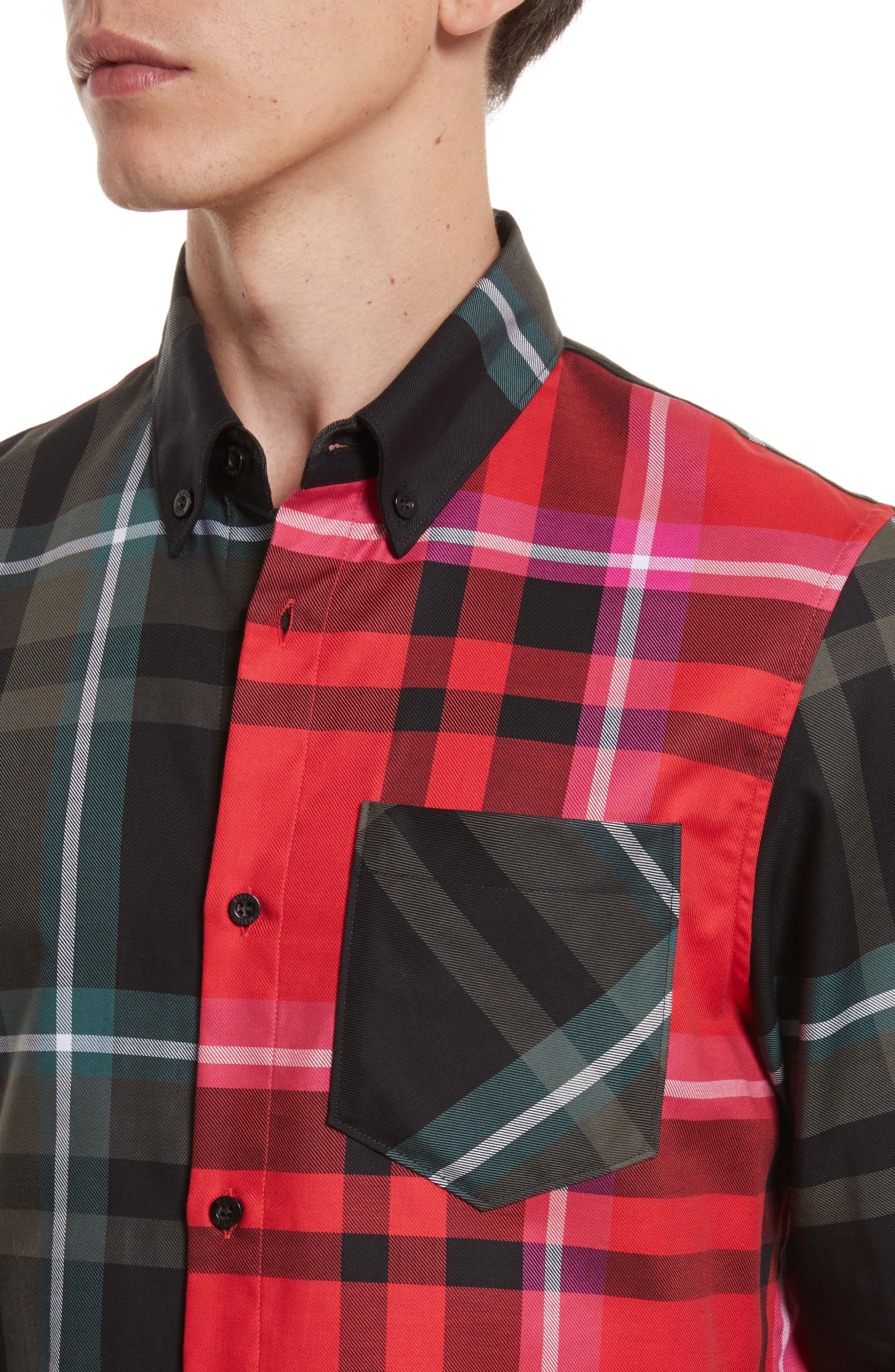 VERSUS by Versace Plaid Woven Shirt,                             Alternate thumbnail 4, color,                             Red Multi