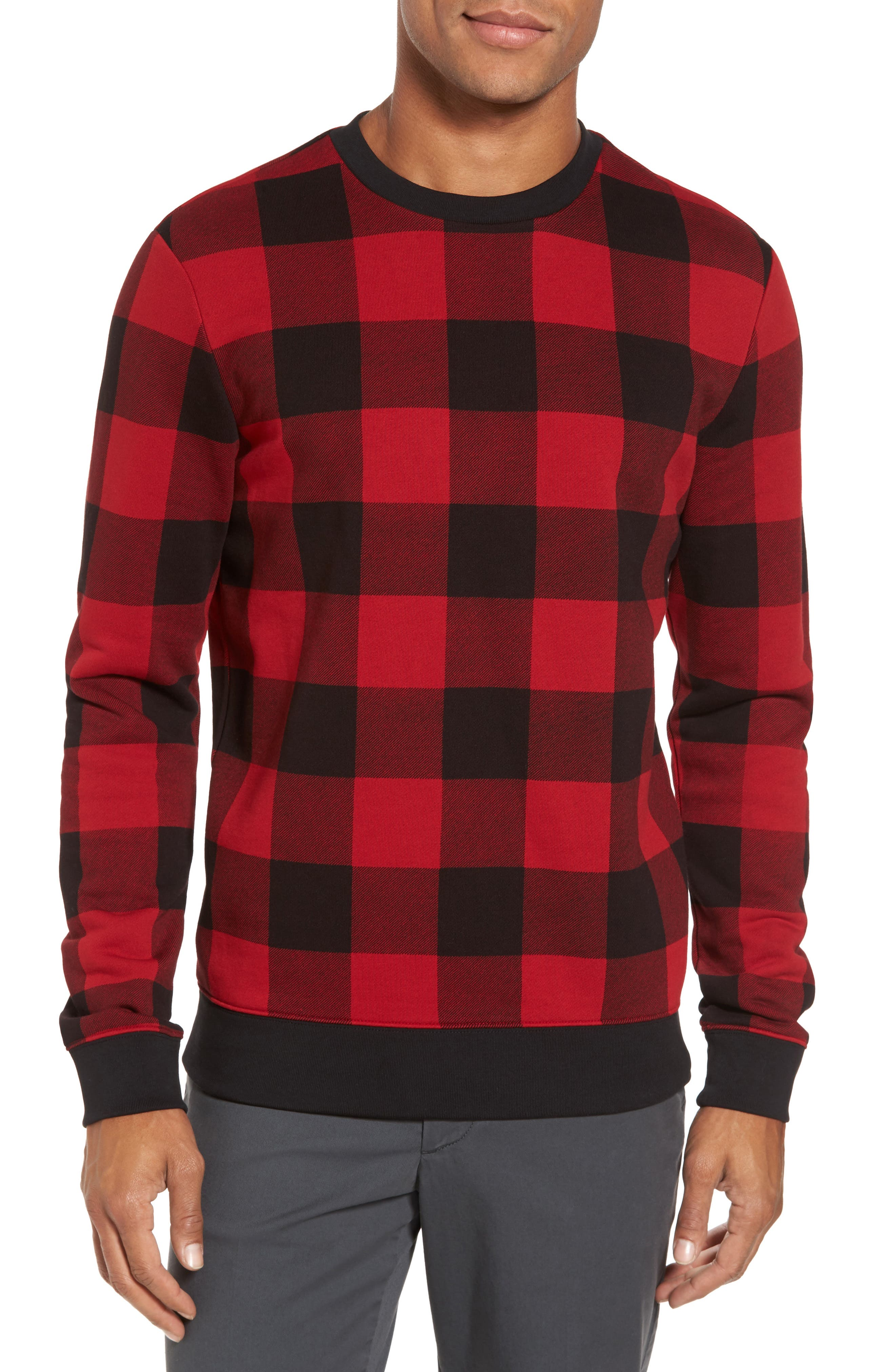 Skubic Check Slim Fit Sweater,                             Main thumbnail 1, color,                             Red