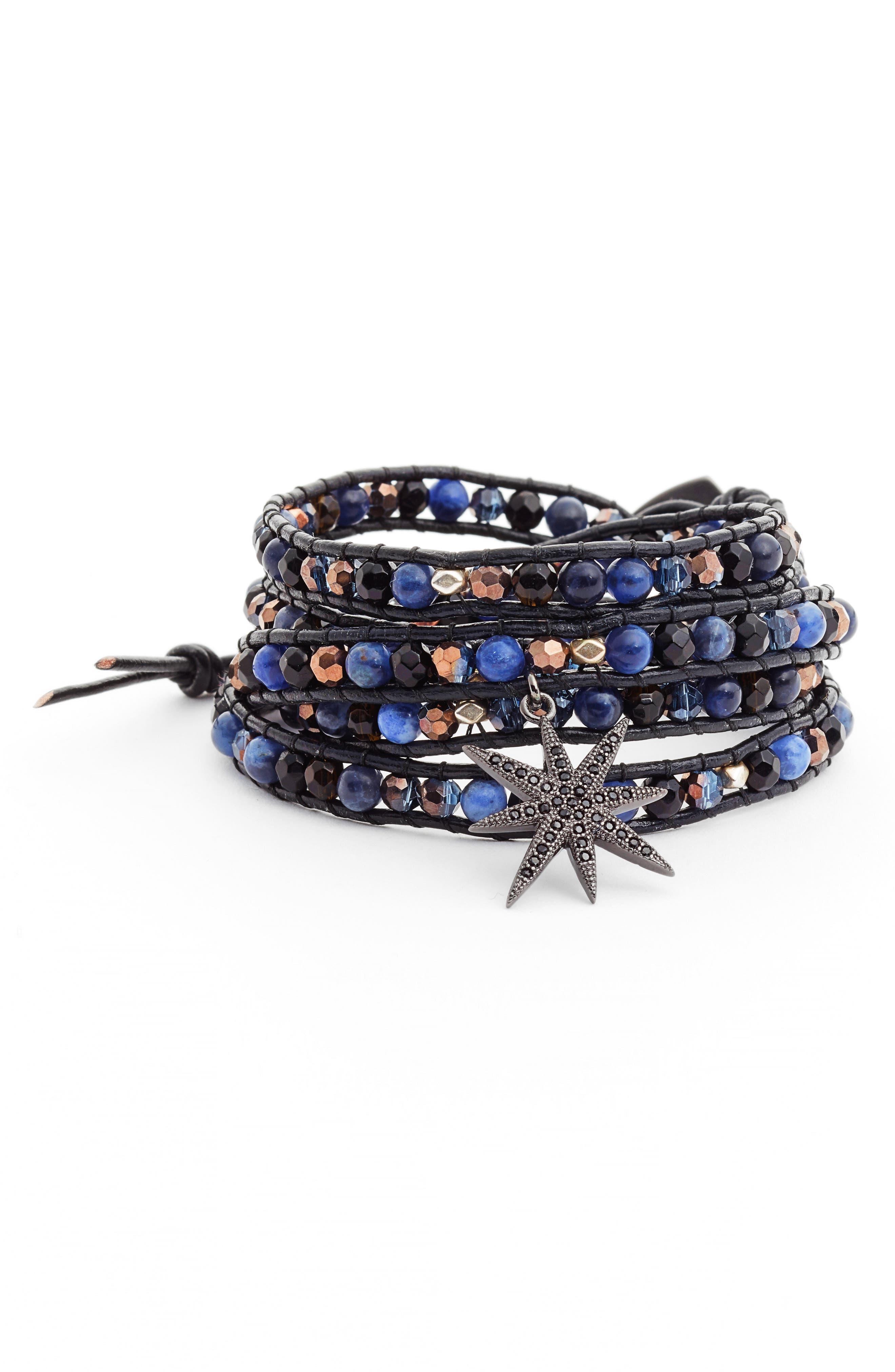 Crystal Charm Wrap Bracelet,                         Main,                         color, Blue