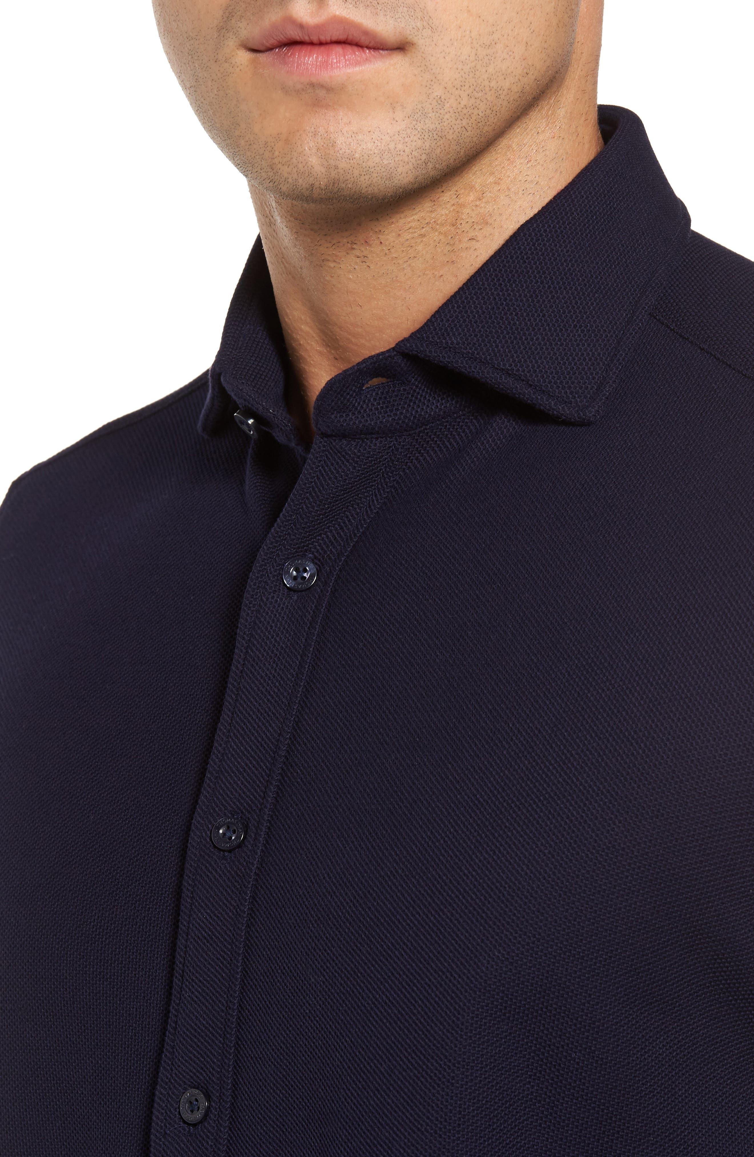 Regular Fit Herringbone Sport Shirt,                             Alternate thumbnail 4, color,                             Indigo