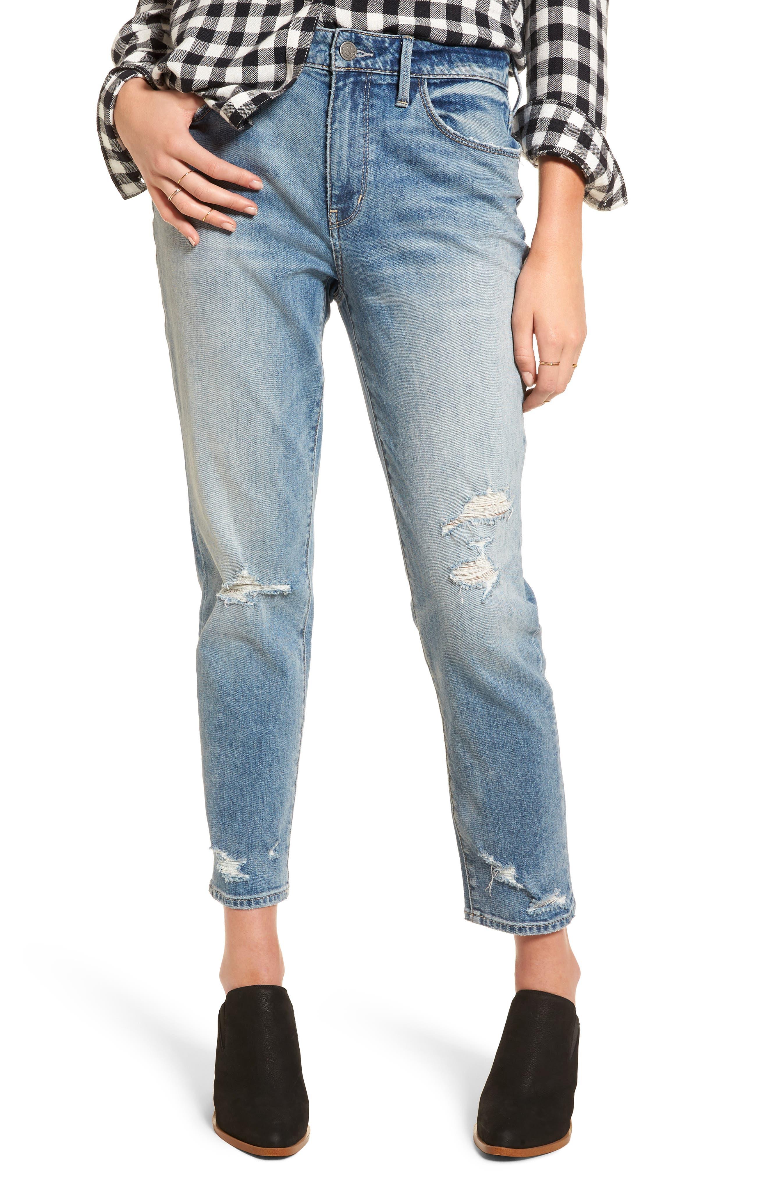 Loose Fit Slim Jeans,                         Main,                         color, Gravel Light Destroy