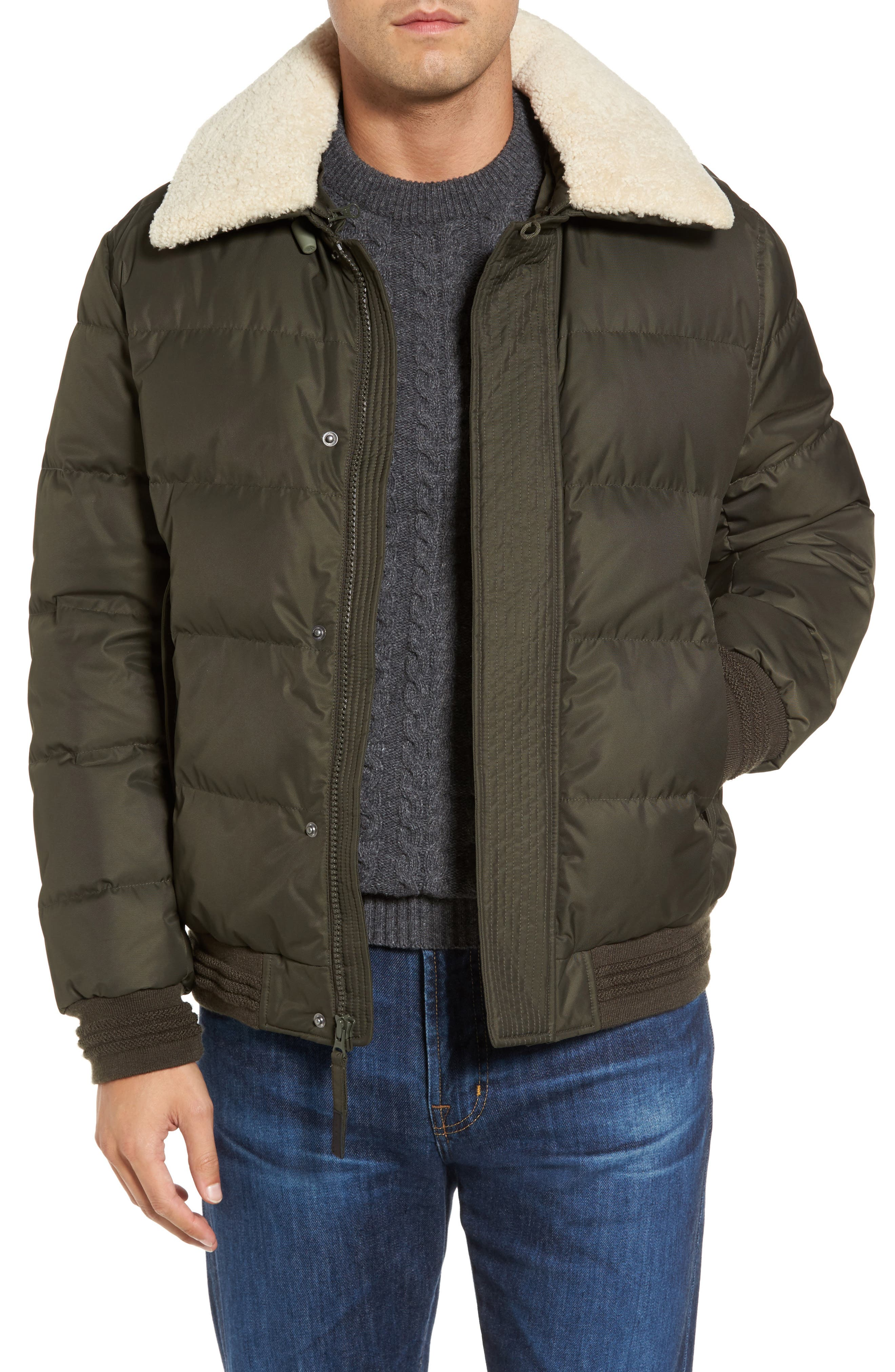 Andrew Marc Pinnacle Quilted Down Jacket with Genuine Shearling Collar