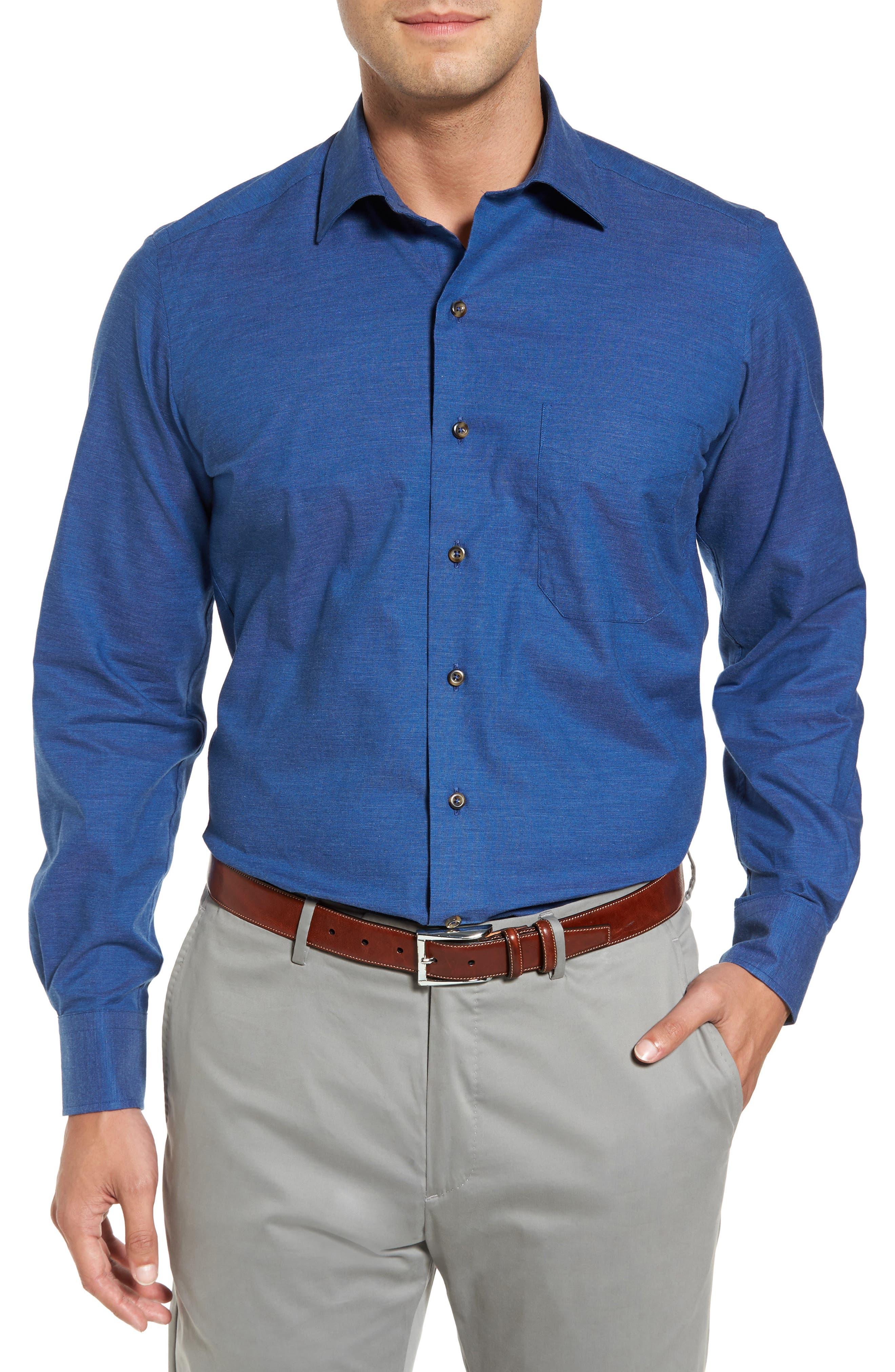 Regular Fit Woven Sport Shirt,                         Main,                         color, Navy