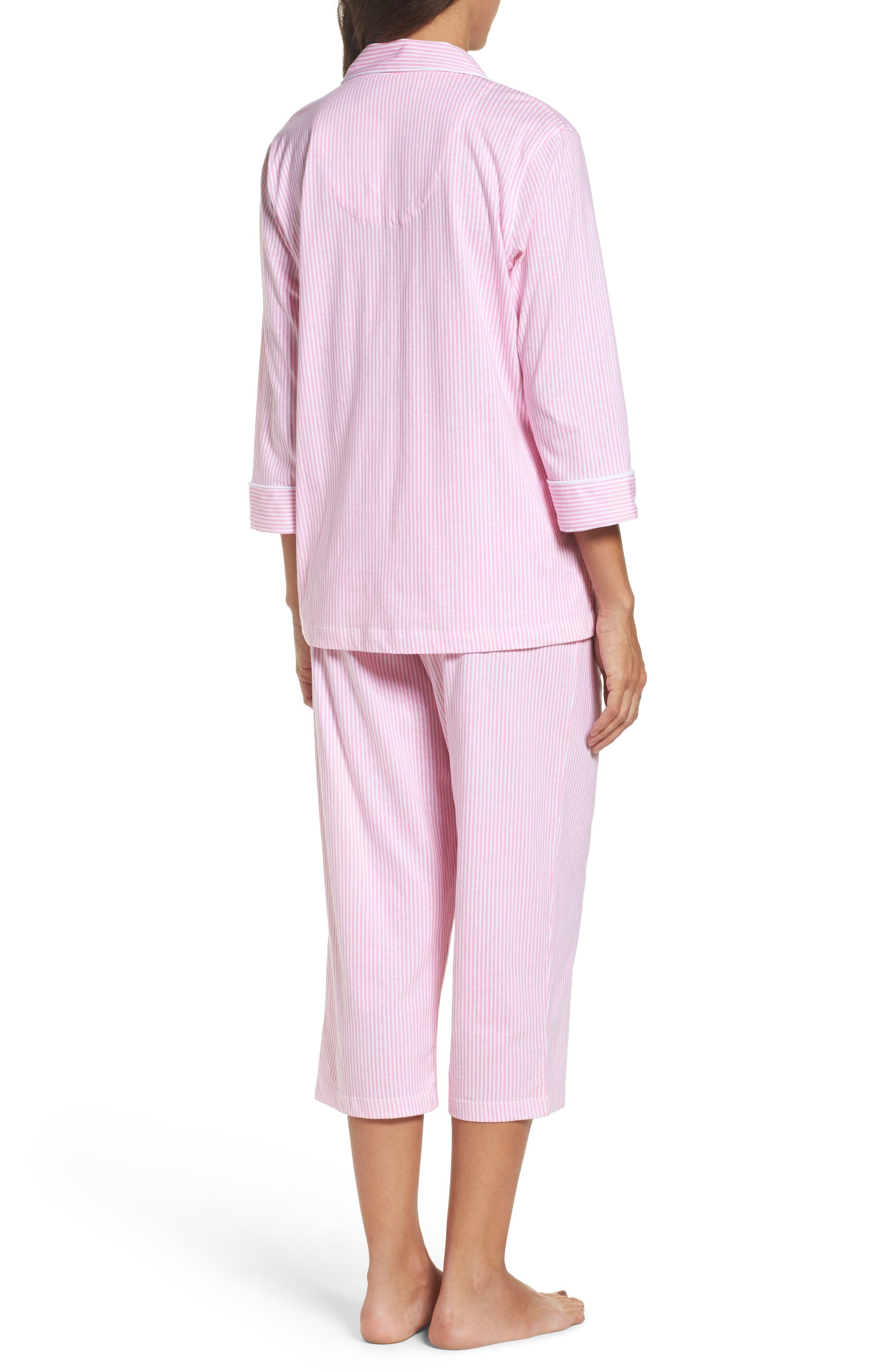 Knit Crop Pajamas,                             Alternate thumbnail 2, color,                             Lagoon Pink/ White Stripe