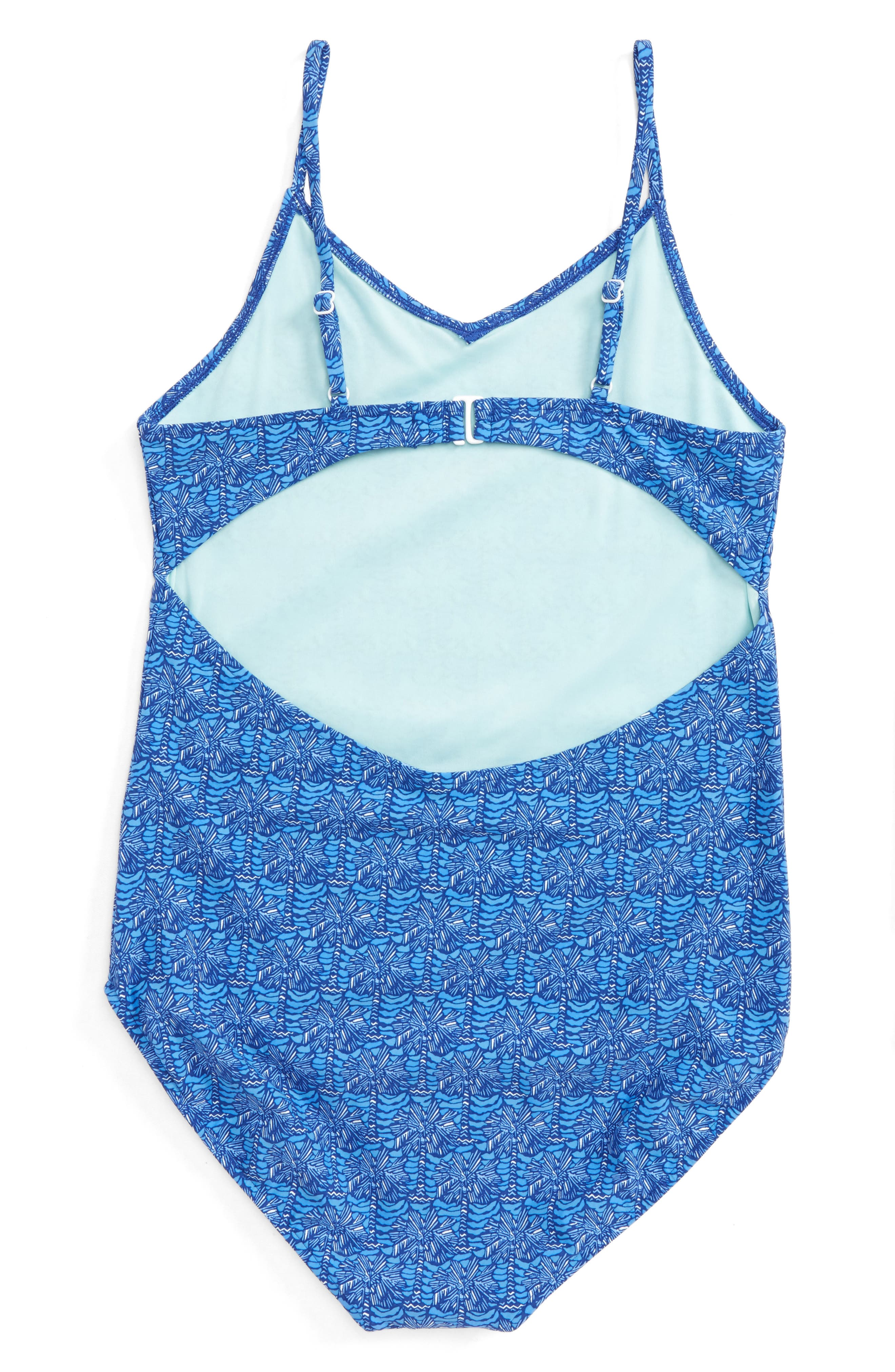 Alternate Image 2  - vineyard vines Palmetto Print One-Piece Swimsuit (Little Girls & Big Girls)