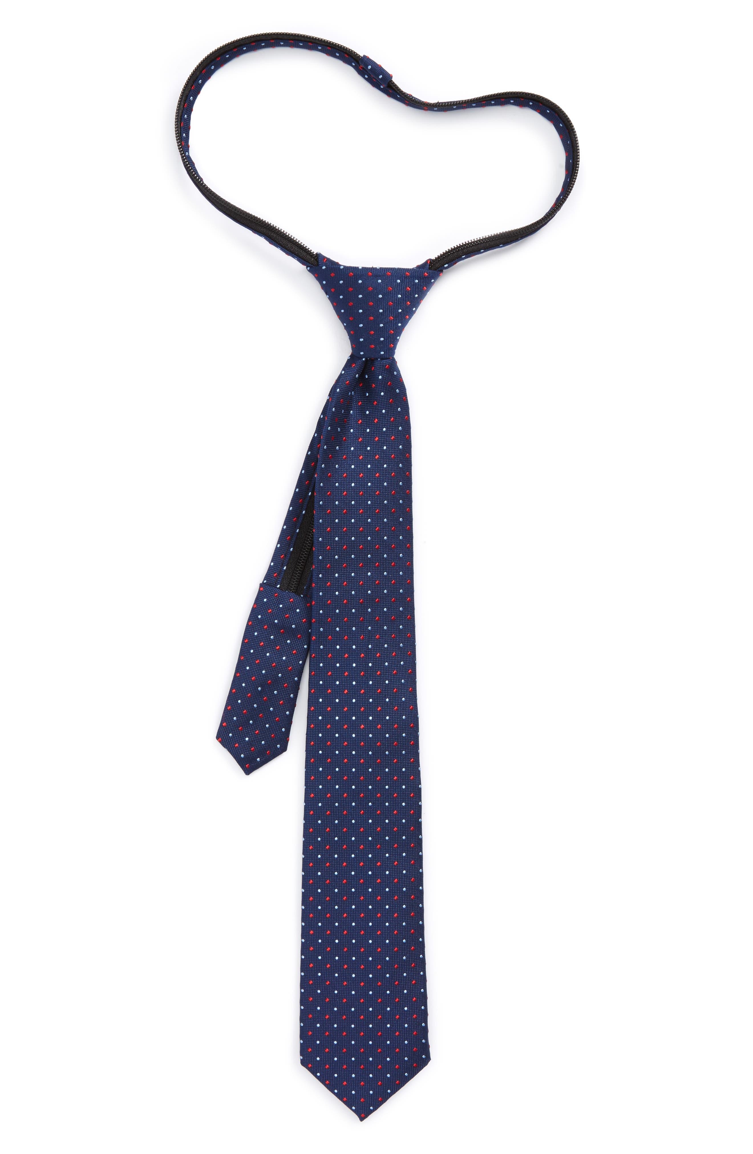 Nordstrom Dot Silk Zip Tie (Boys)