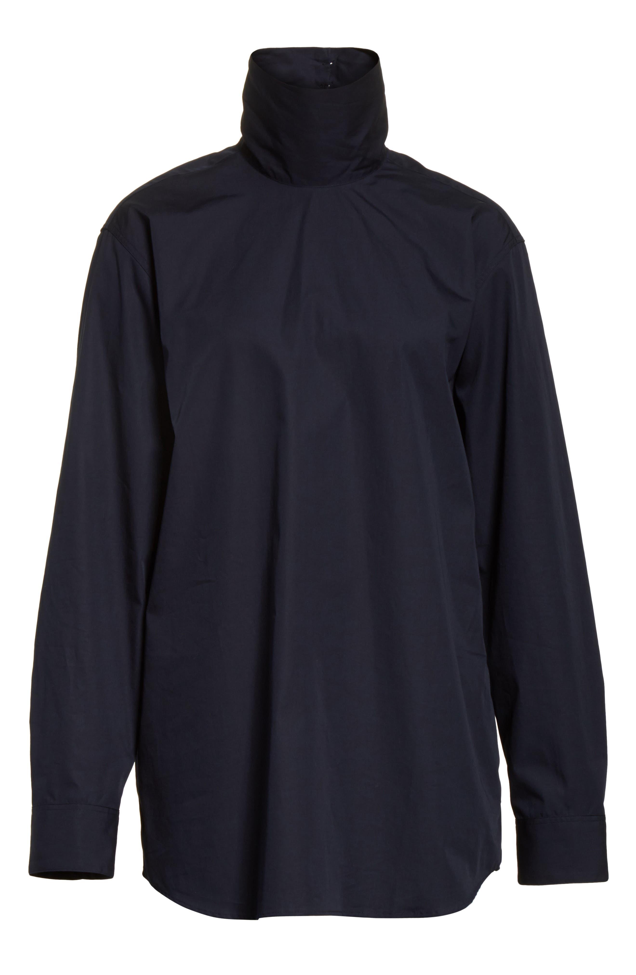 Alternate Image 6  - Dries Van Noten Cotton Poplin Mock Neck Shirt