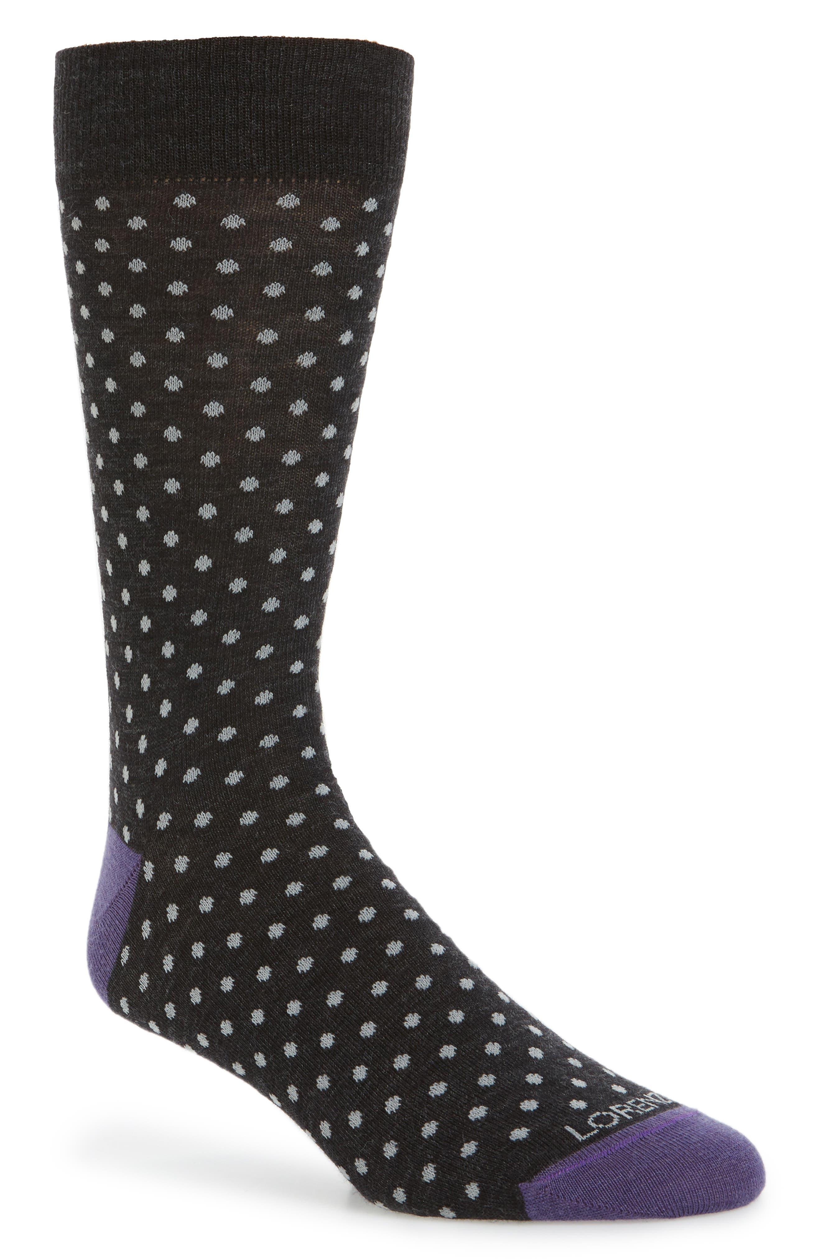 Dot Socks,                             Main thumbnail 1, color,                             Charcoal