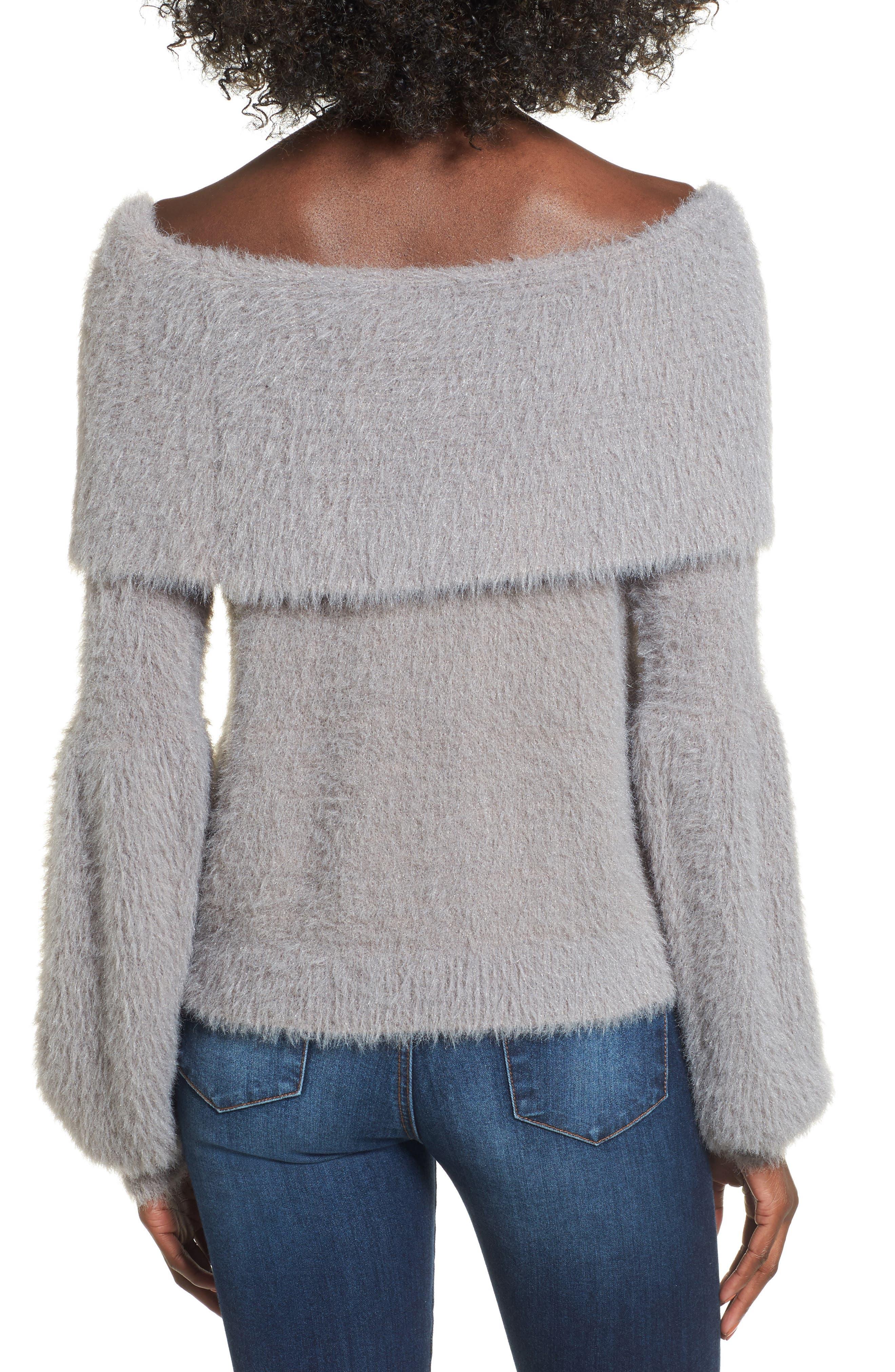 Off the Shoulder Sweater,                             Alternate thumbnail 2, color,                             Grey Cloudburst