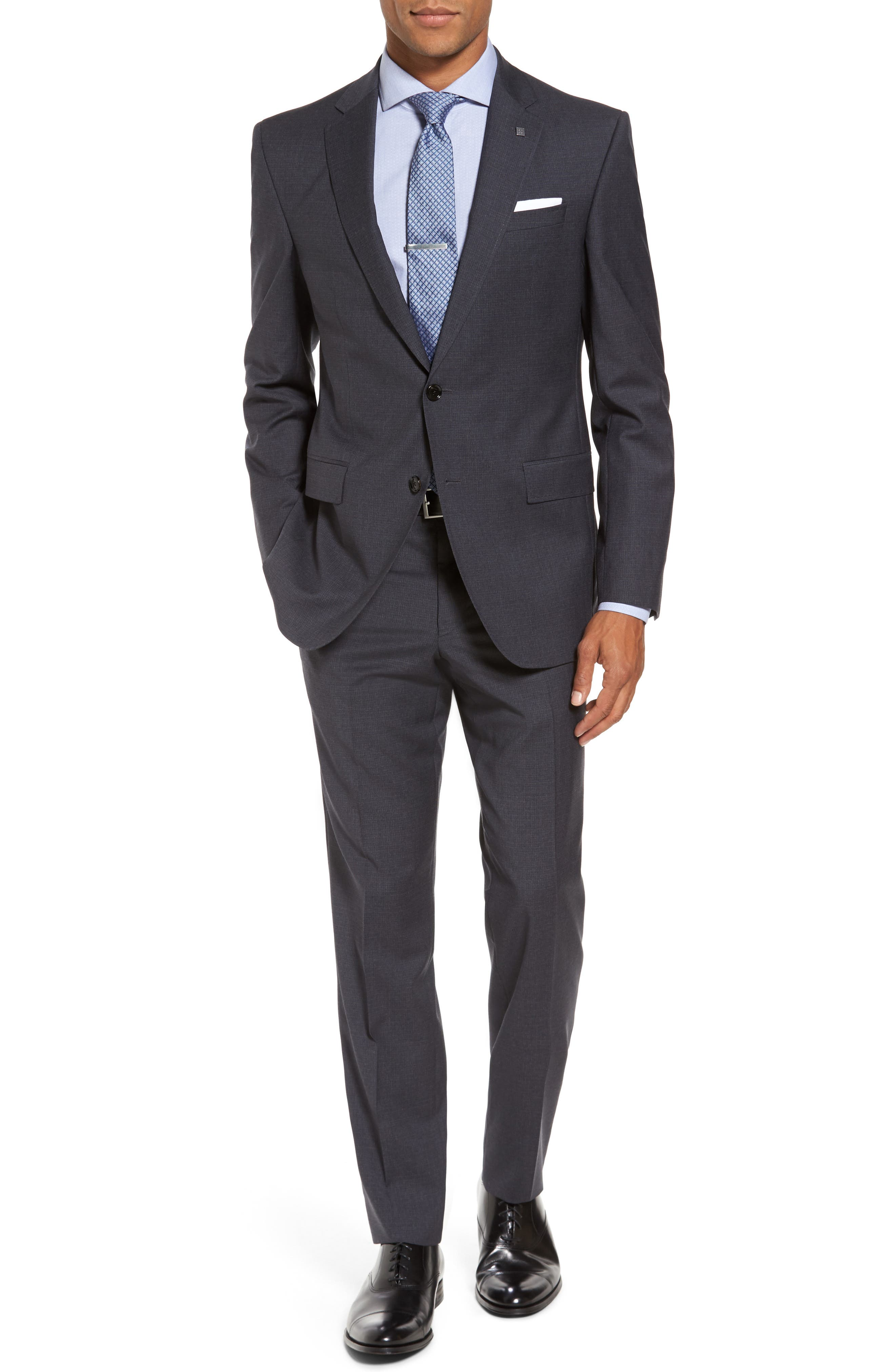 Jay Trim Fit Check Wool Suit,                         Main,                         color, Grey