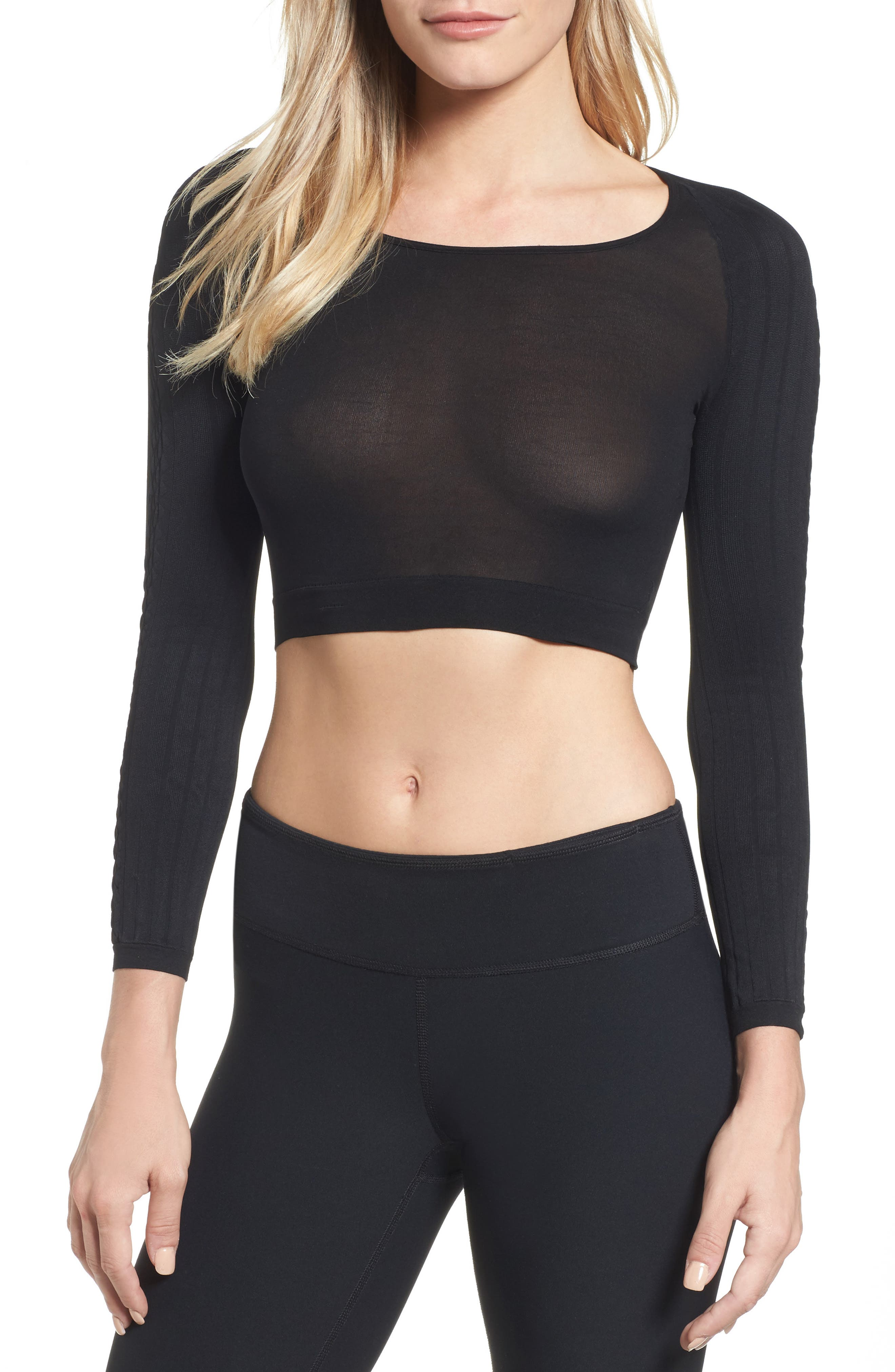 SPANX Arm Tights<sup>™</sup> Cable Layering Top,                             Main thumbnail 1, color,                             Black Cable