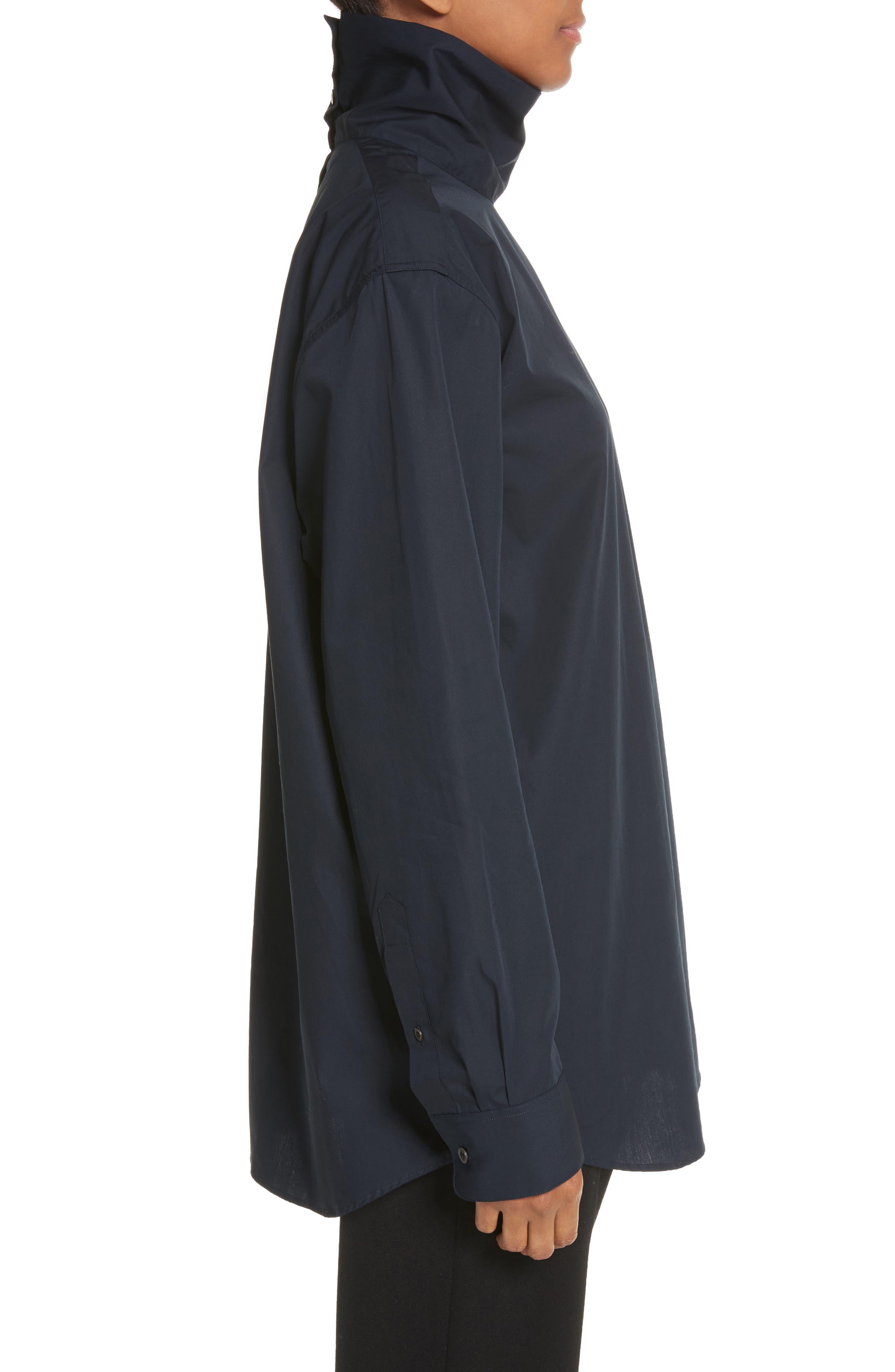 Alternate Image 3  - Dries Van Noten Cotton Poplin Mock Neck Shirt