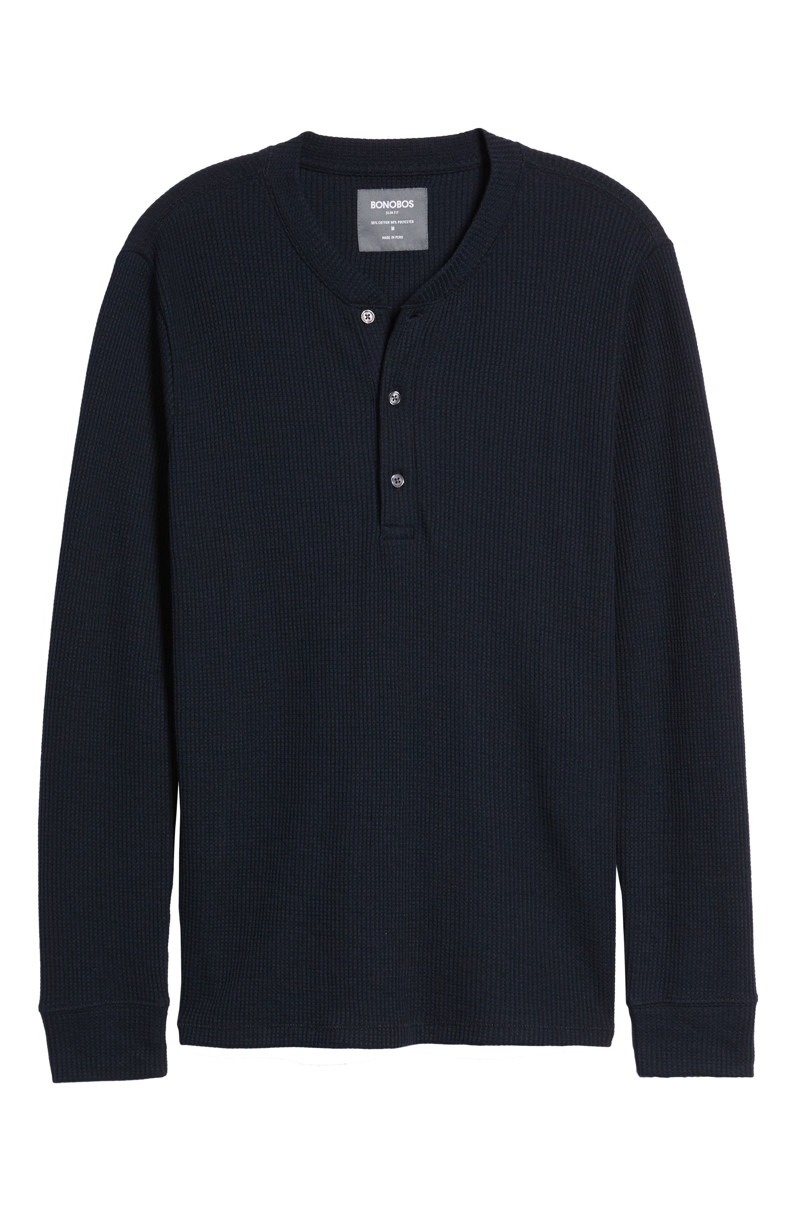 Slim Fit Long Sleeve Henley Shirt,                             Alternate thumbnail 6, color,                             Stormy Night
