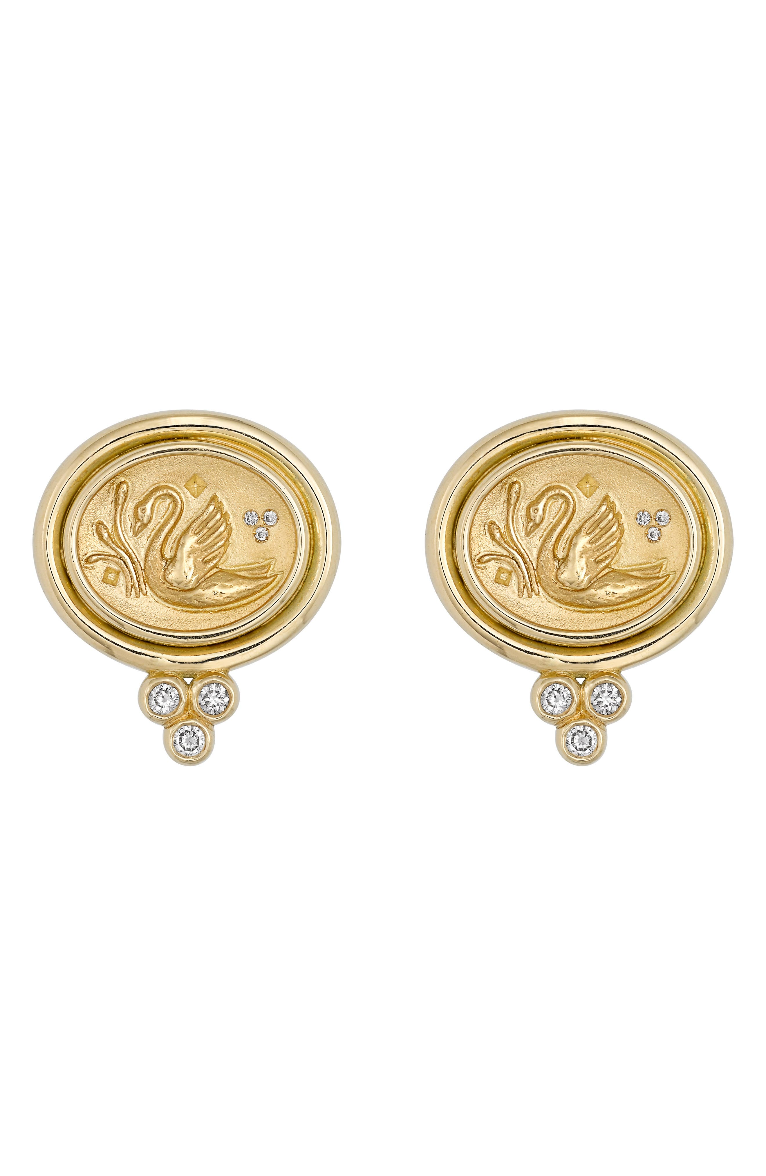 Temple St. Clair Object Trouvé Diamond Coin Earrings,                         Main,                         color, Yellow Gold