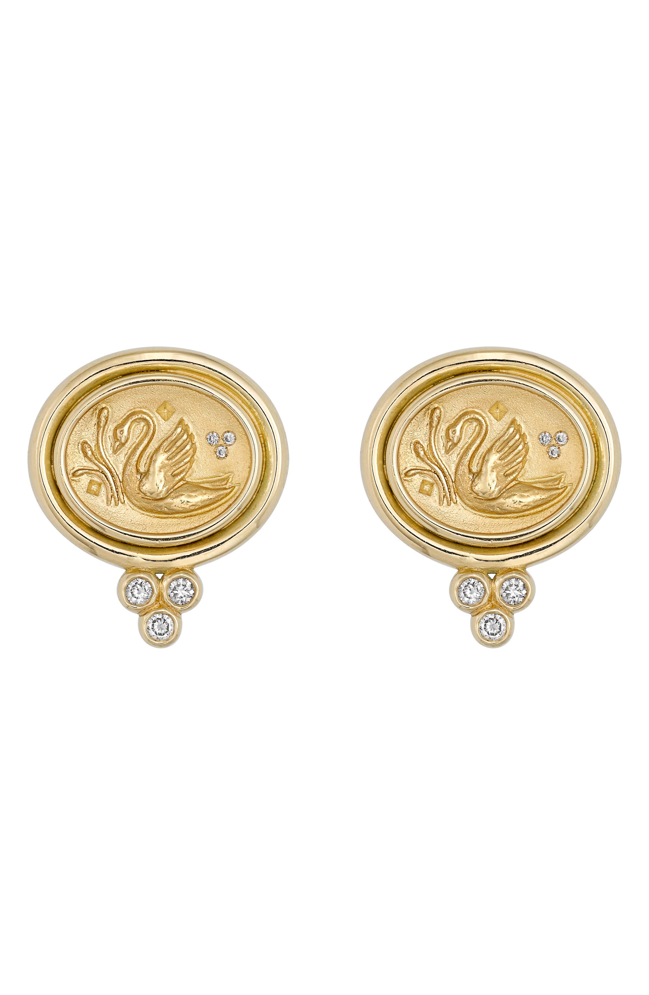 Temple St. Clair Object Trouvé Diamond Coin Earrings