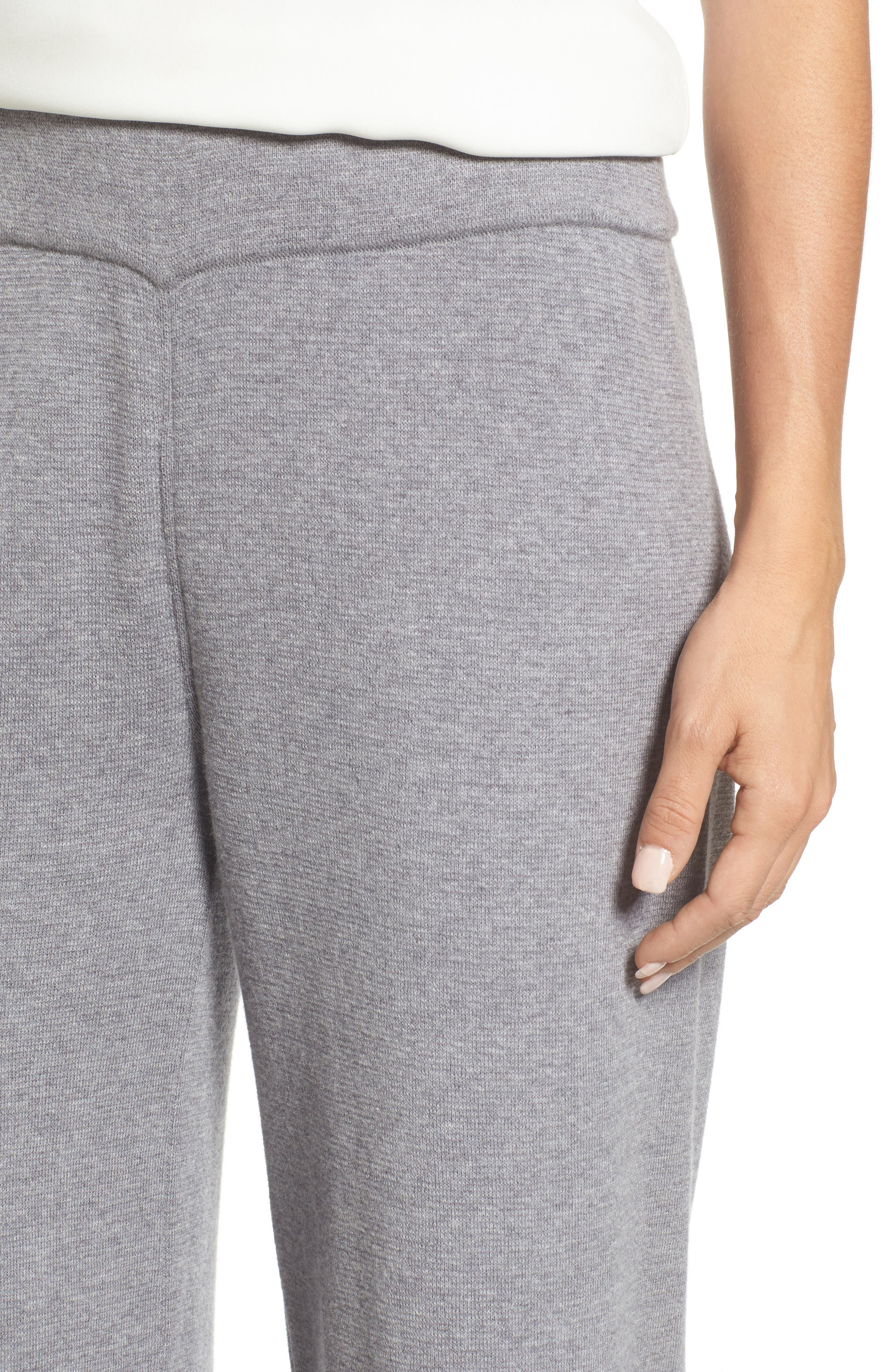 Heathered Knit Pants,                             Alternate thumbnail 4, color,                             Warm Grey