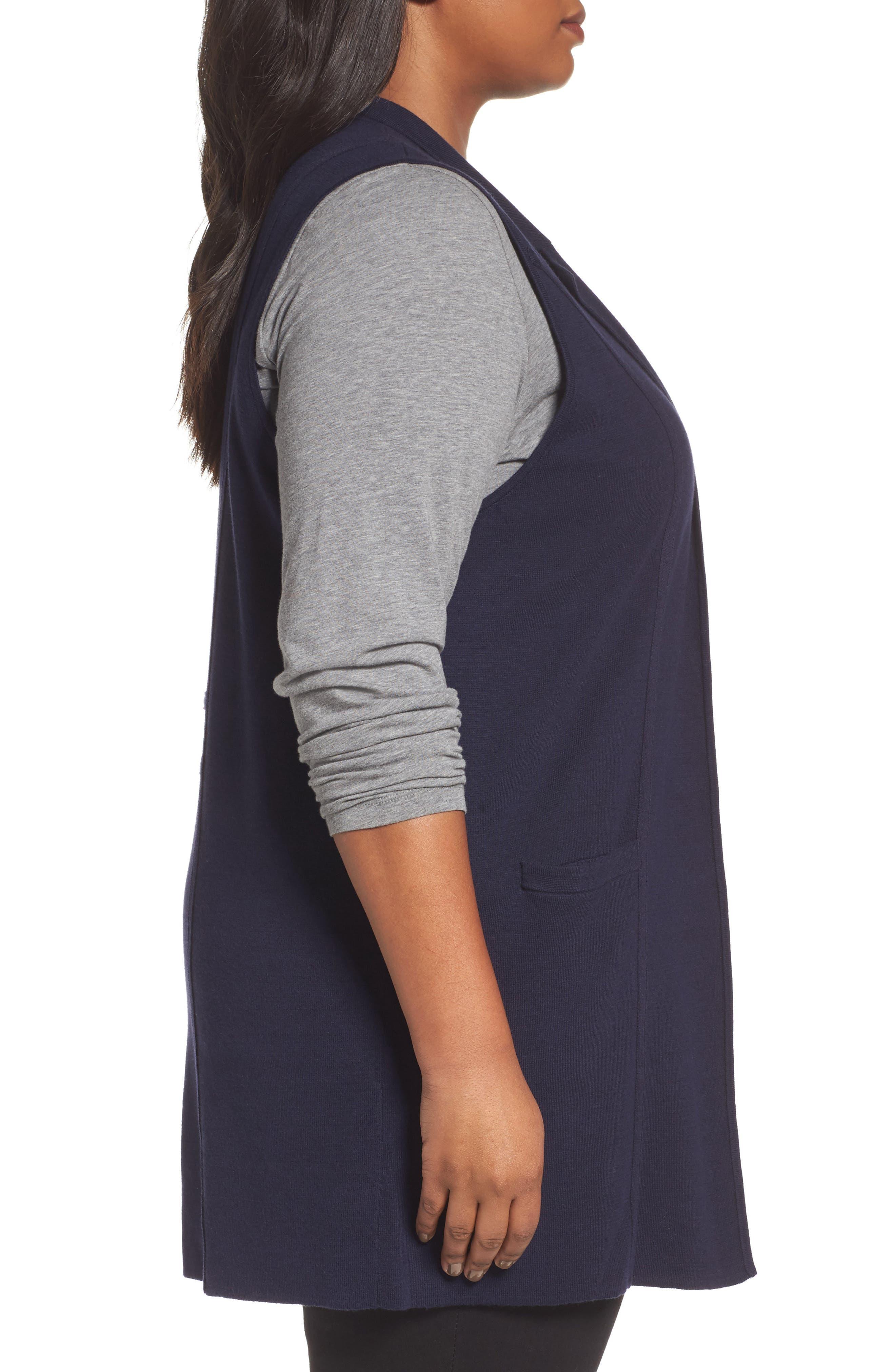 Alternate Image 3  - Foxcroft Jodi Longline Sweater Vest (Plus Size)