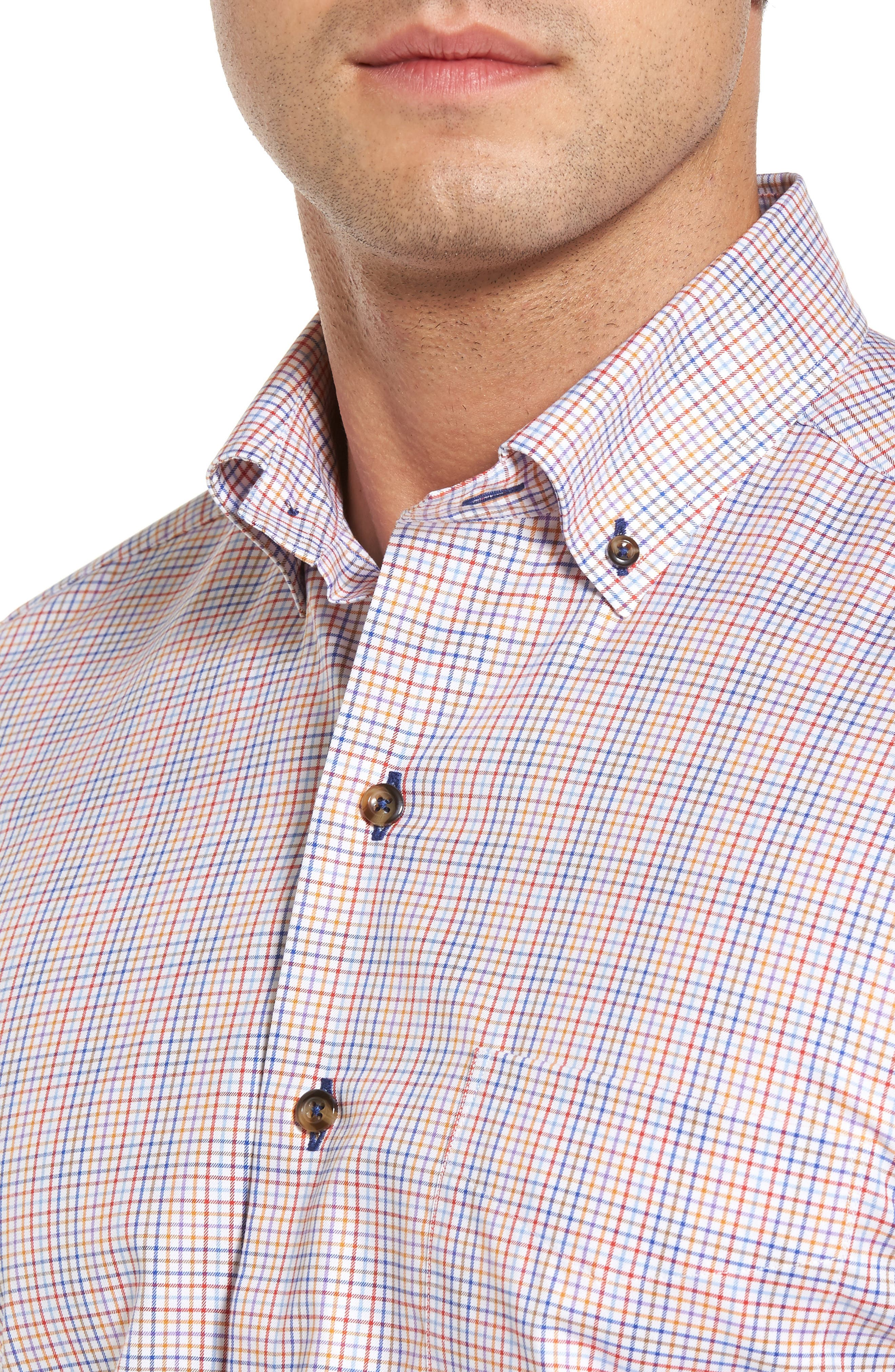 Regular Fit Plaid Sport Shirt,                             Alternate thumbnail 4, color,                             Blue/ Red