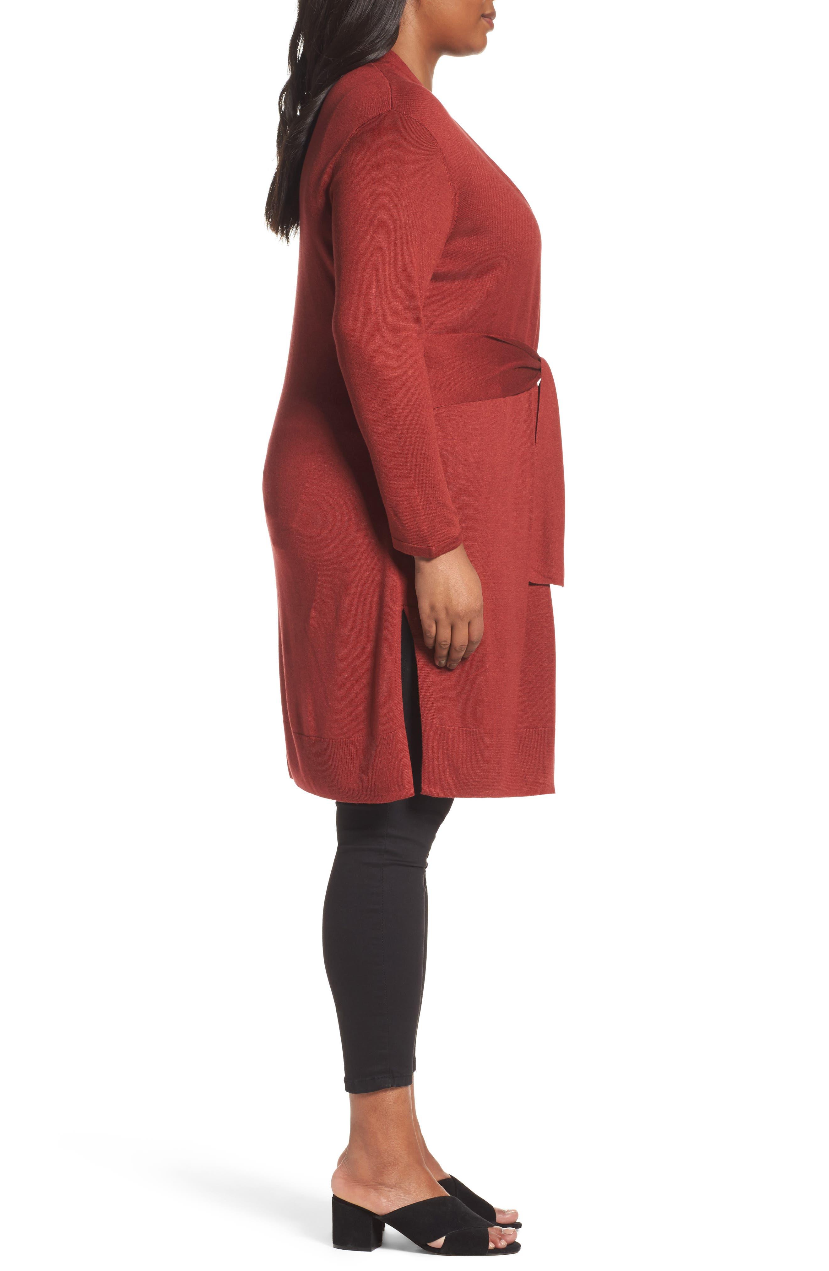 Alternate Image 3  - NIC+ZOE Silk Blend Trench Cardigan (Plus Size)