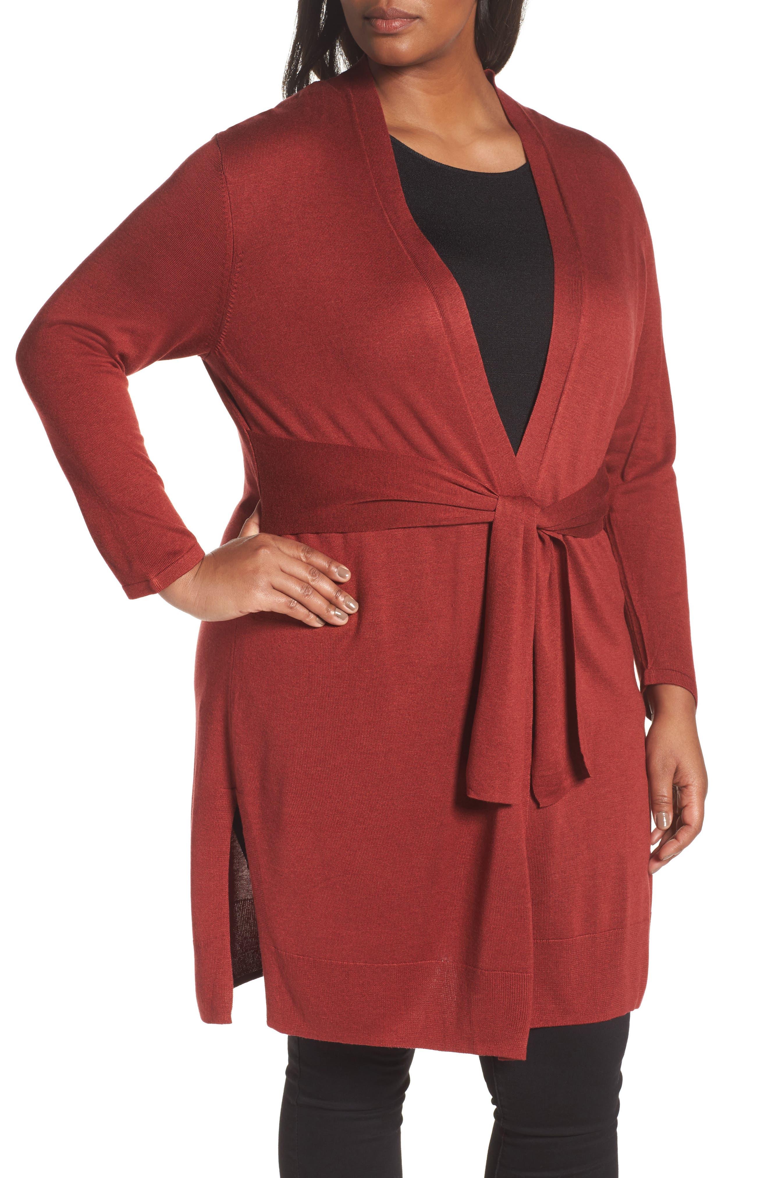 Alternate Image 4  - NIC+ZOE Silk Blend Trench Cardigan (Plus Size)