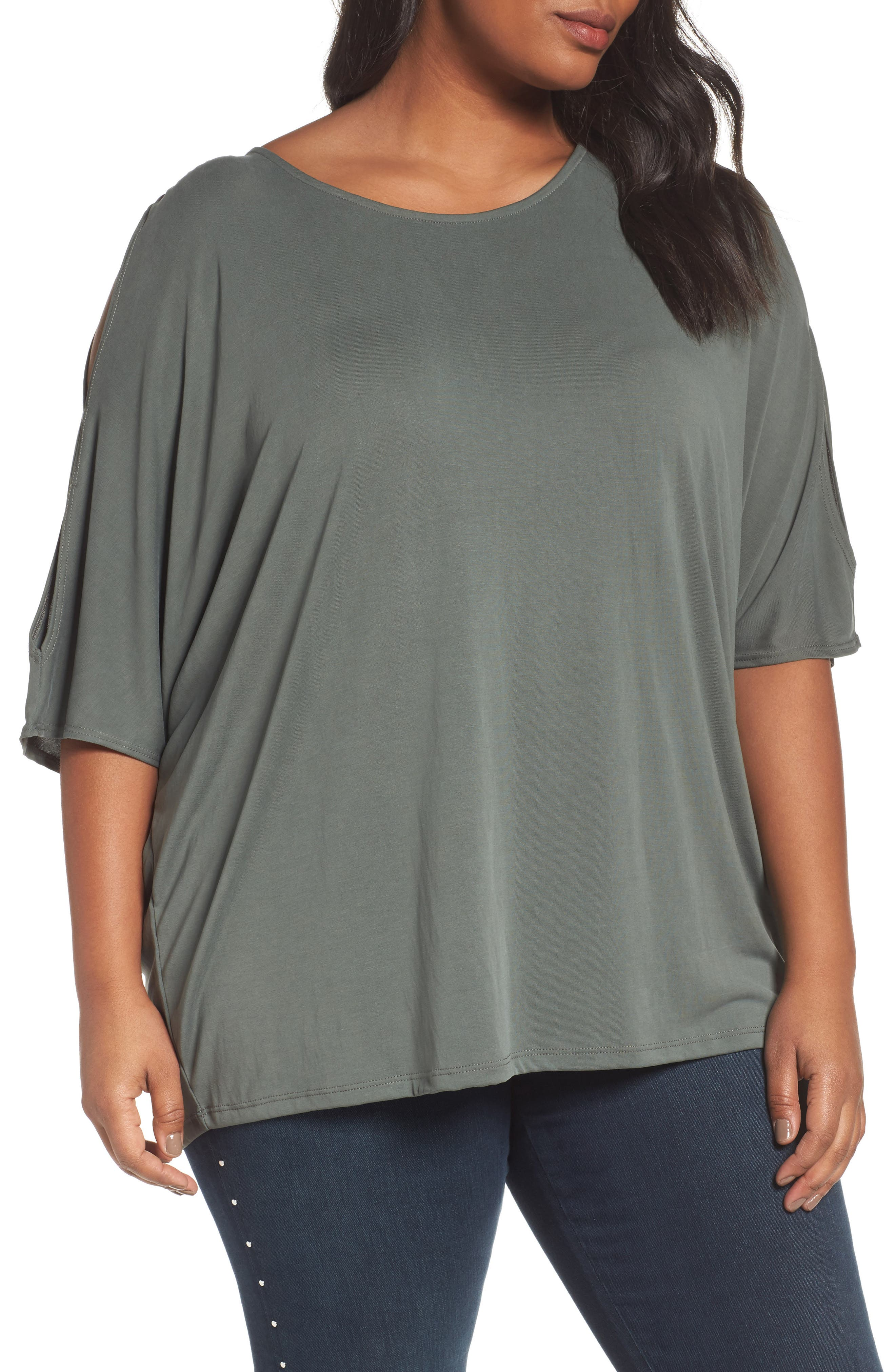 Sejour Cutout Sleeve Tee (Plus Size)