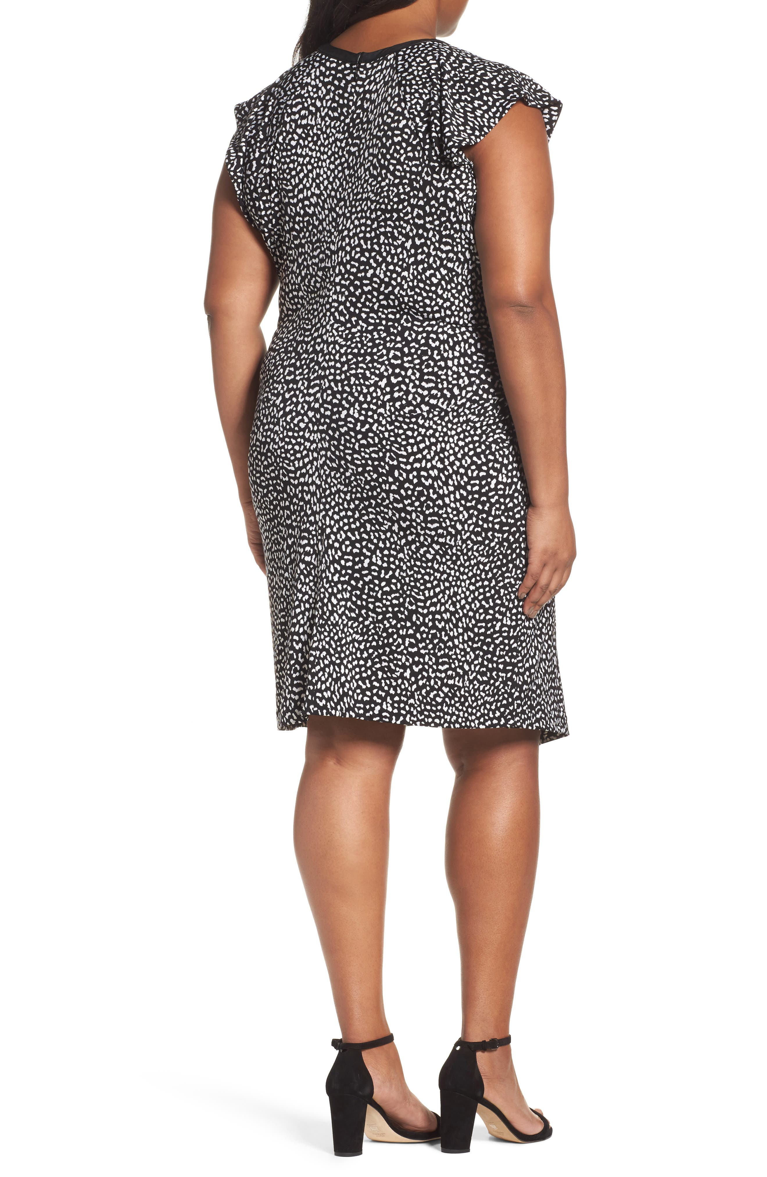 Cheetah Print Flutter Sleeve Dress,                             Alternate thumbnail 2, color,                             Black