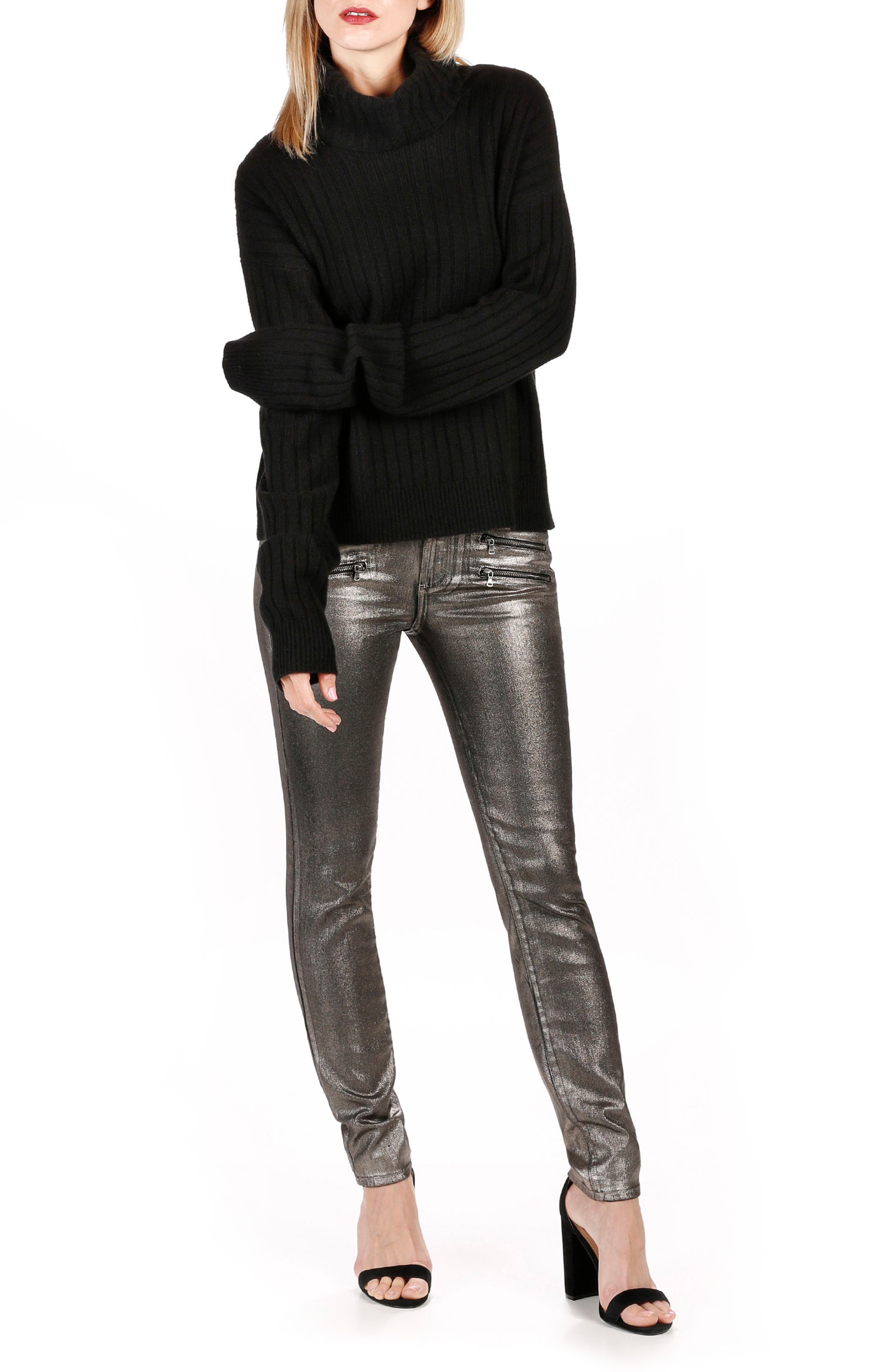 Alternate Image 3  - Rosie HW x PAIGE Stevie High Waist Skinny Jeans (Champagne Galaxy Coating)