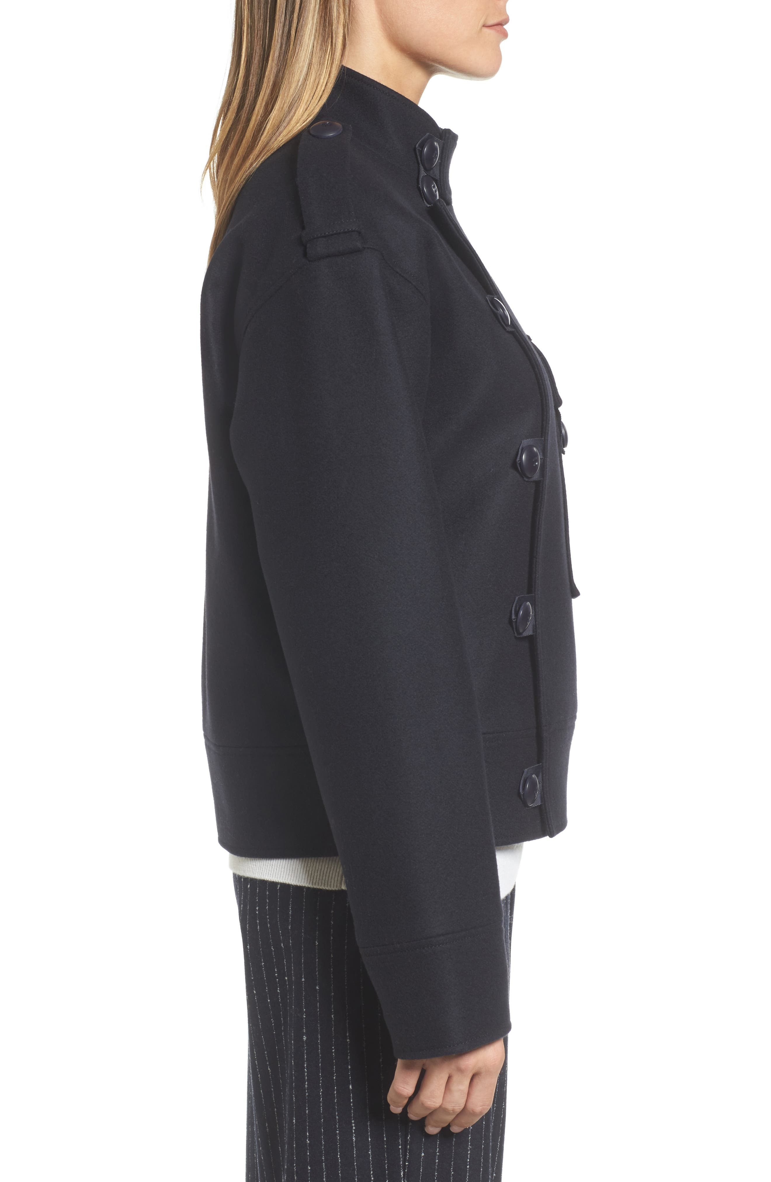Wool Sculpted Jacket,                             Alternate thumbnail 3, color,                             Navy Night