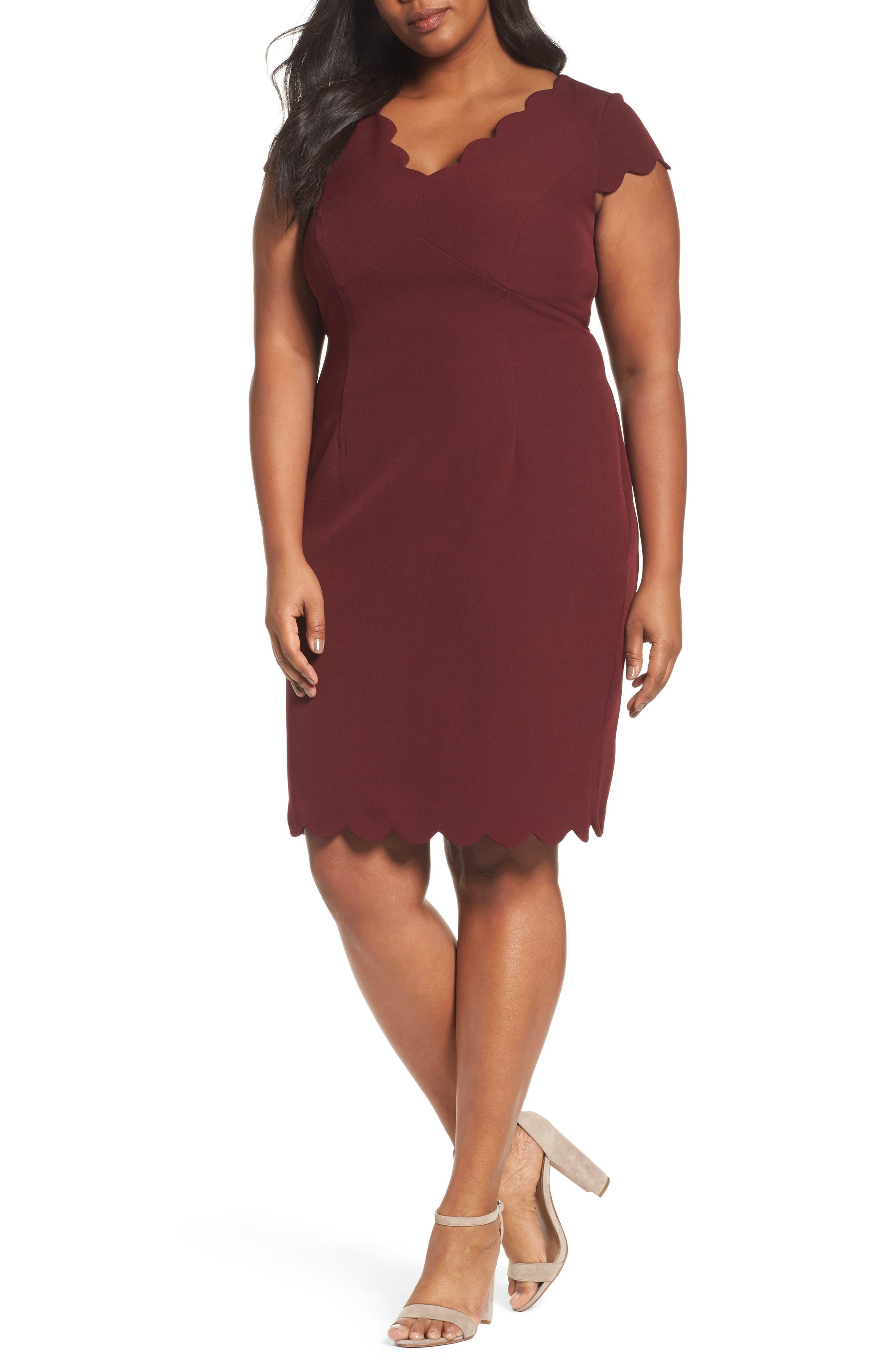 Scalloped Crepe Sheath Dress,                             Main thumbnail 1, color,                             Marsala