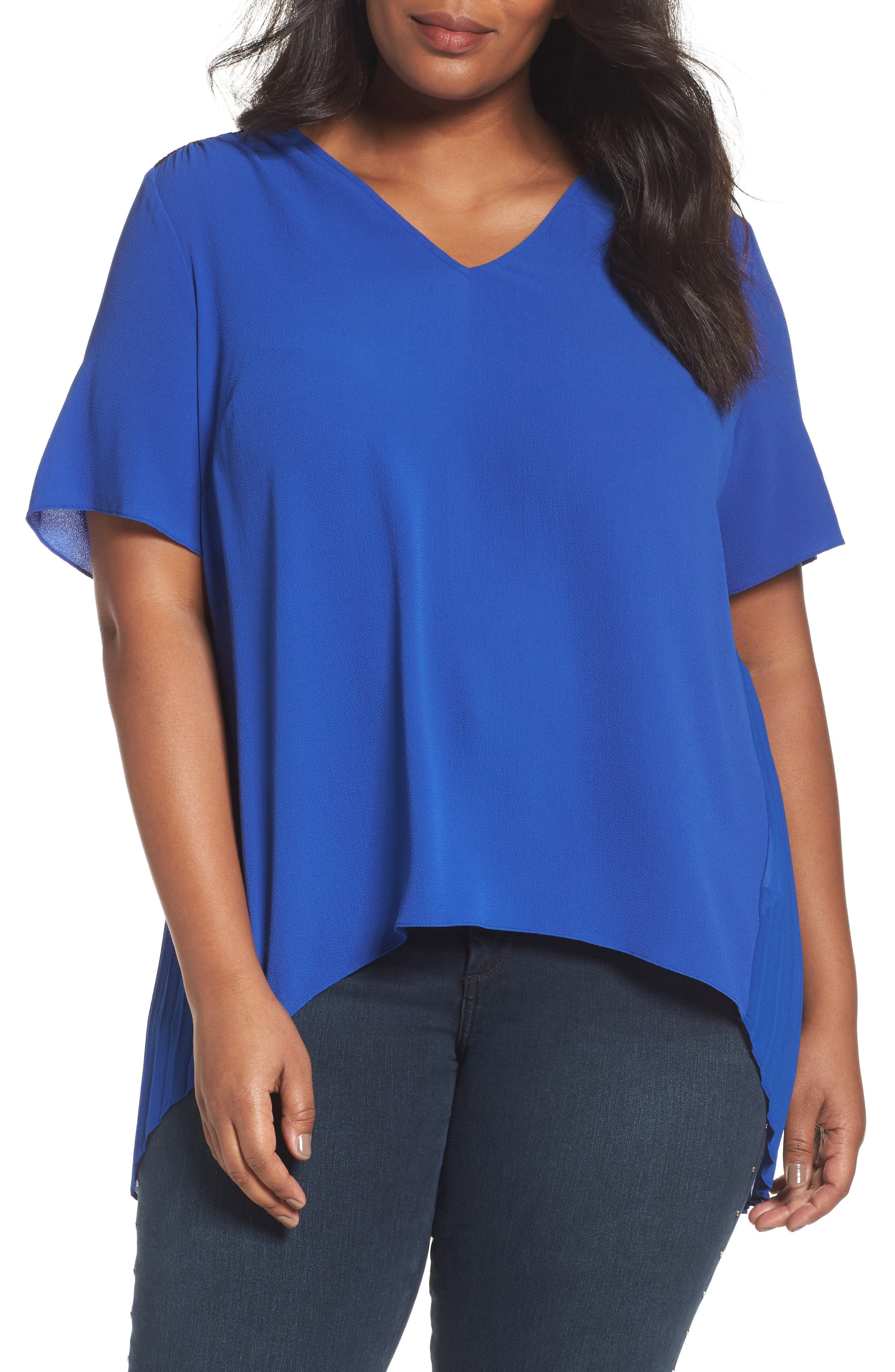 MICHAEL Michael Kors Lace Yoke Pleated Back Top (Plus Size)