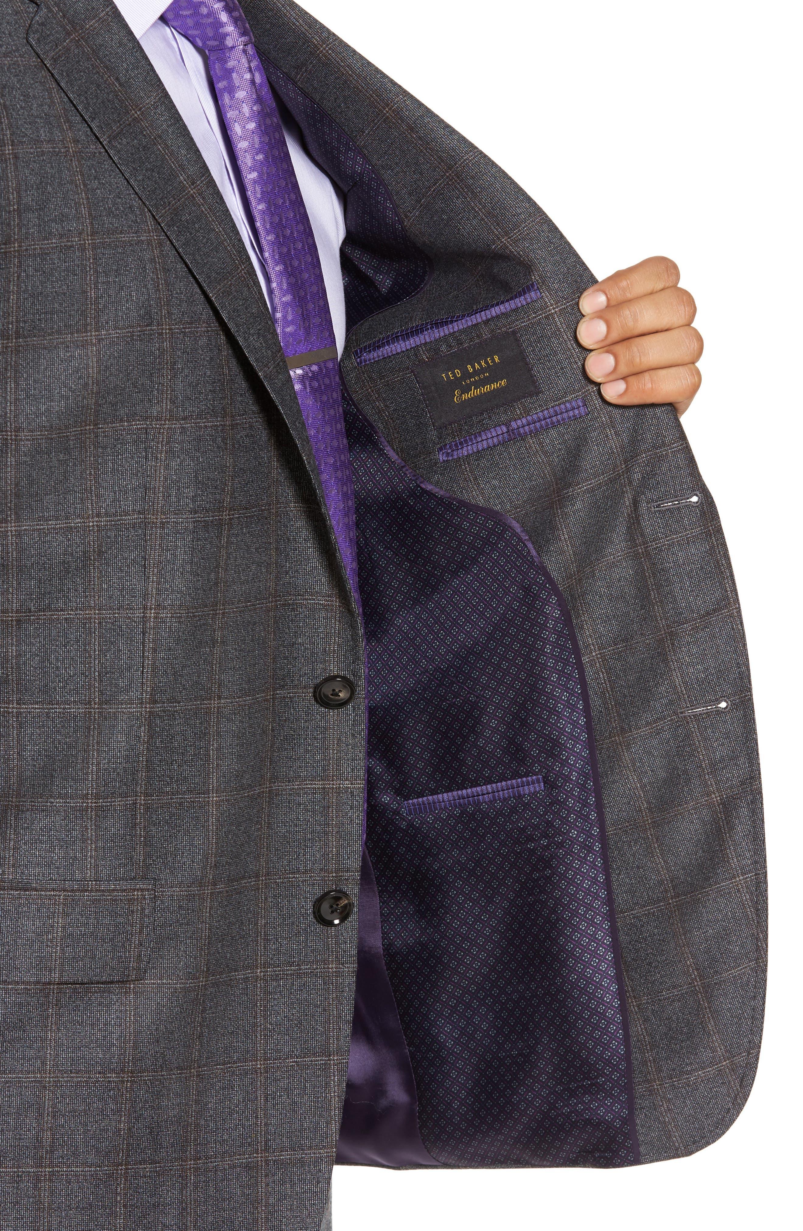 Trim Fit Plaid Wool Suit,                             Alternate thumbnail 4, color,                             Grey