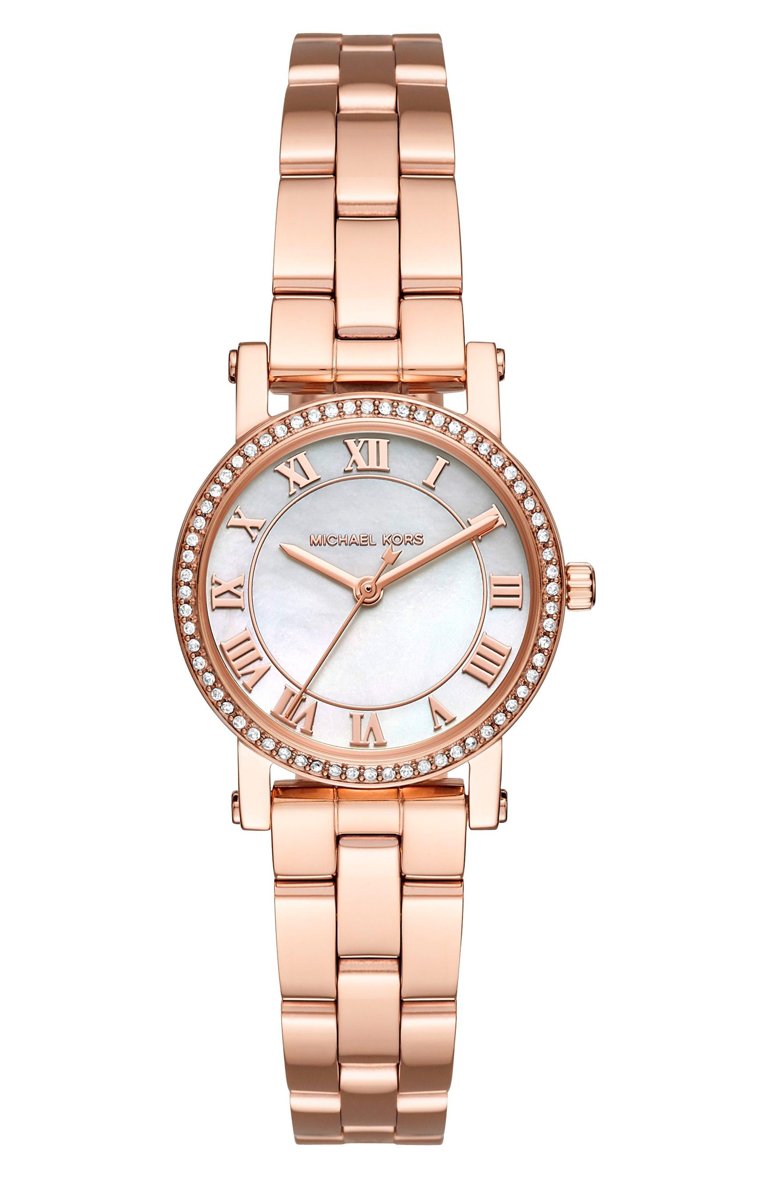 Petite Norie Pavé Bracelet Watch, 28mm,                         Main,                         color, Rose Gold/ Mop/ Rose Gold