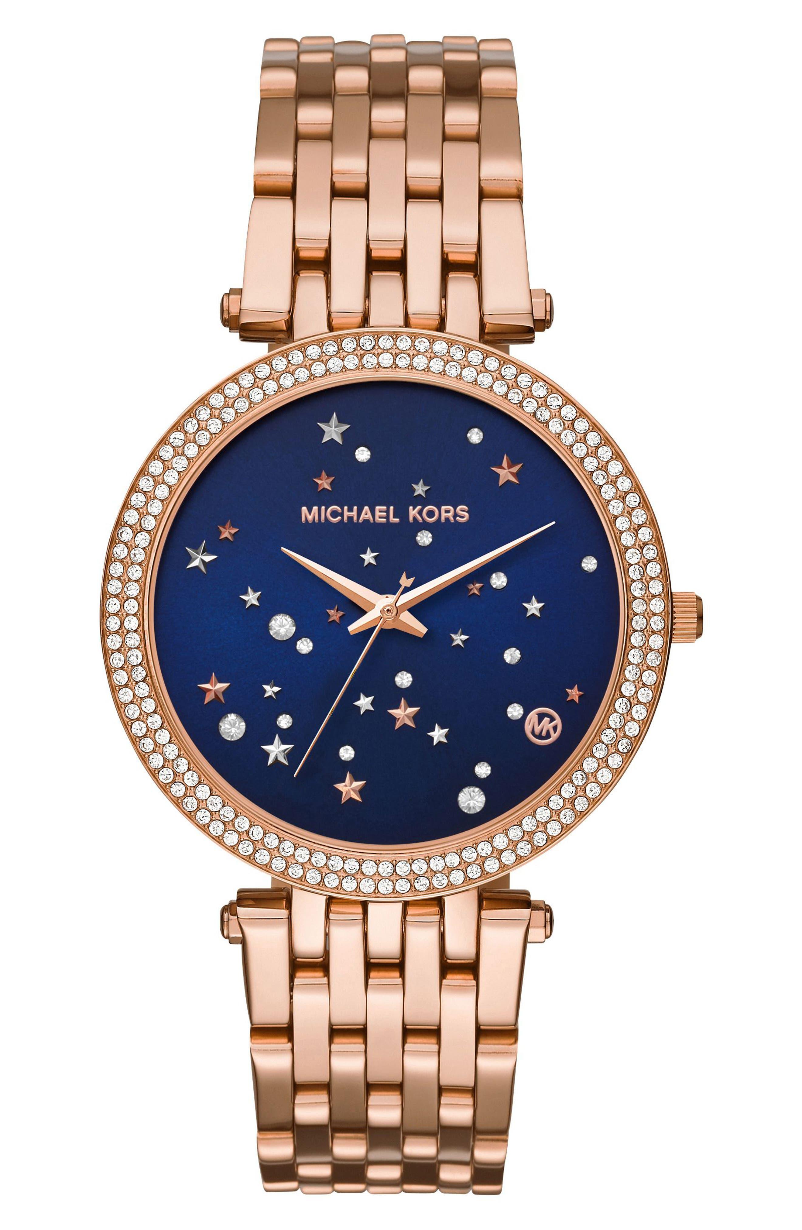 Darci Star Bracelet Watch, 39mm,                         Main,                         color, Rose Gold/ Blue/ Rose Gold