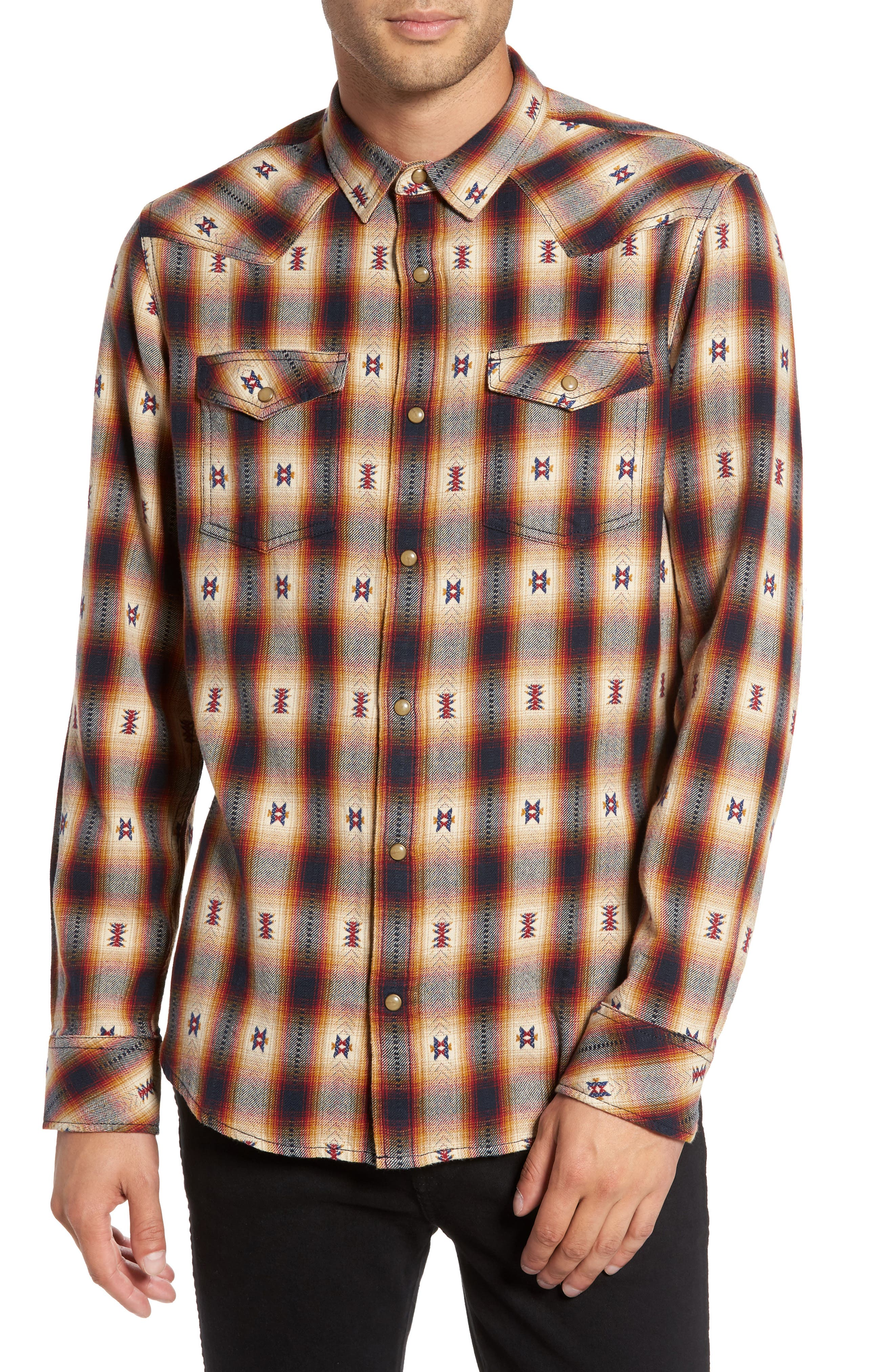 Feliz Dobby Plaid Western Shirt,                             Main thumbnail 1, color,                             Navy Tan Ombre Dobby