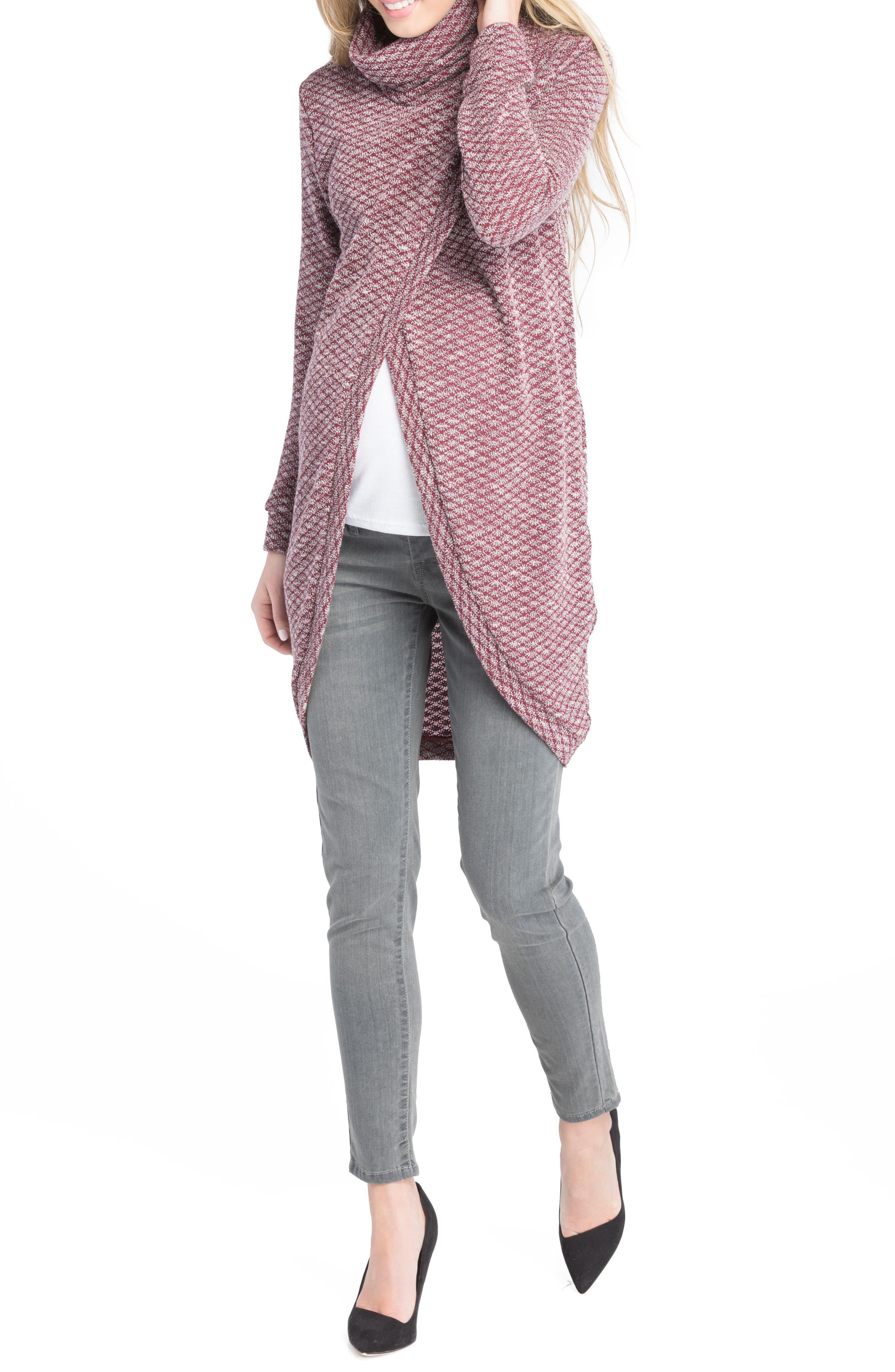 Alternate Image 2  - Lilac Clothing Nursing Tunic Sweater