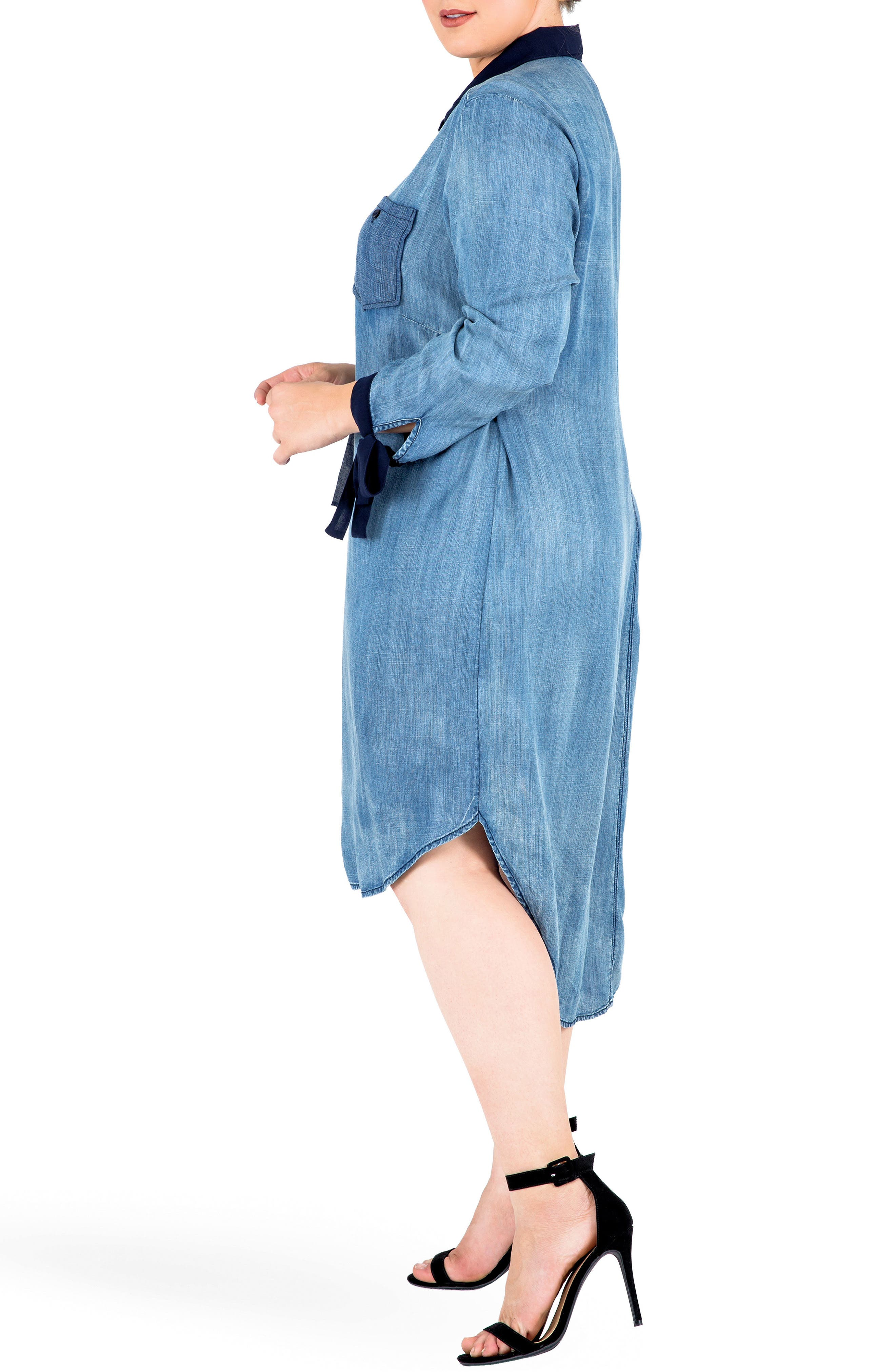 Alternate Image 4  - Standards & Practices High/Low Denim Shirtdress (Plus Size)