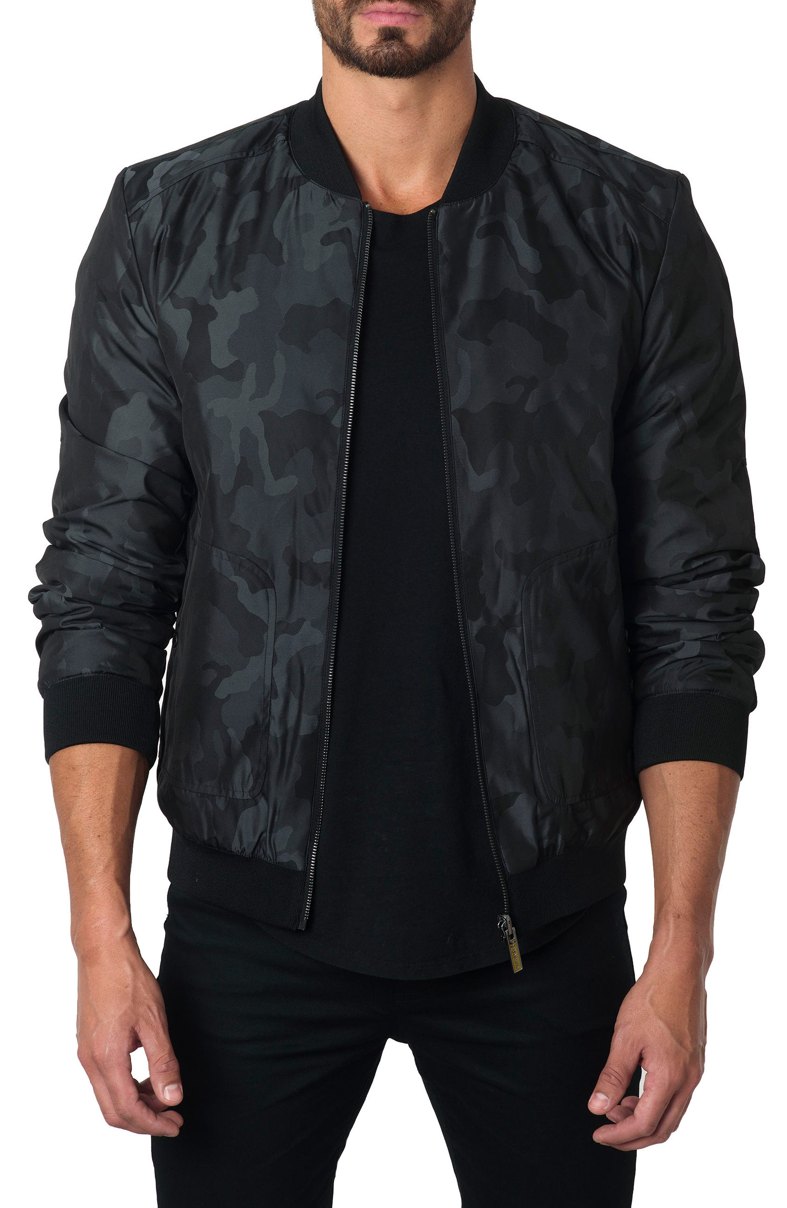 New York Reversible Bomber Jacket,                         Main,                         color, Black Camo