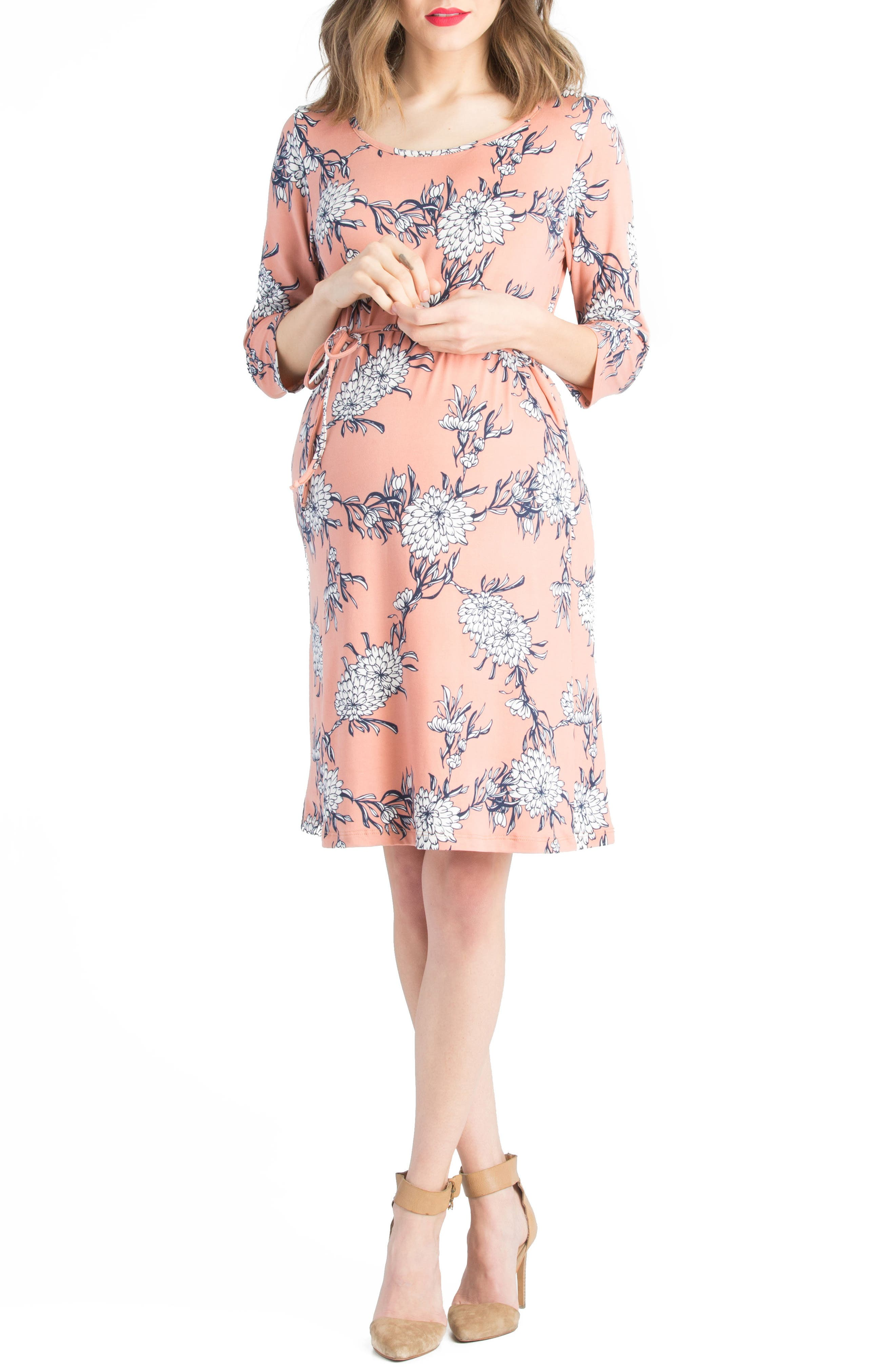 Lilac Clothing Floral Belted Maternity Shift Dress
