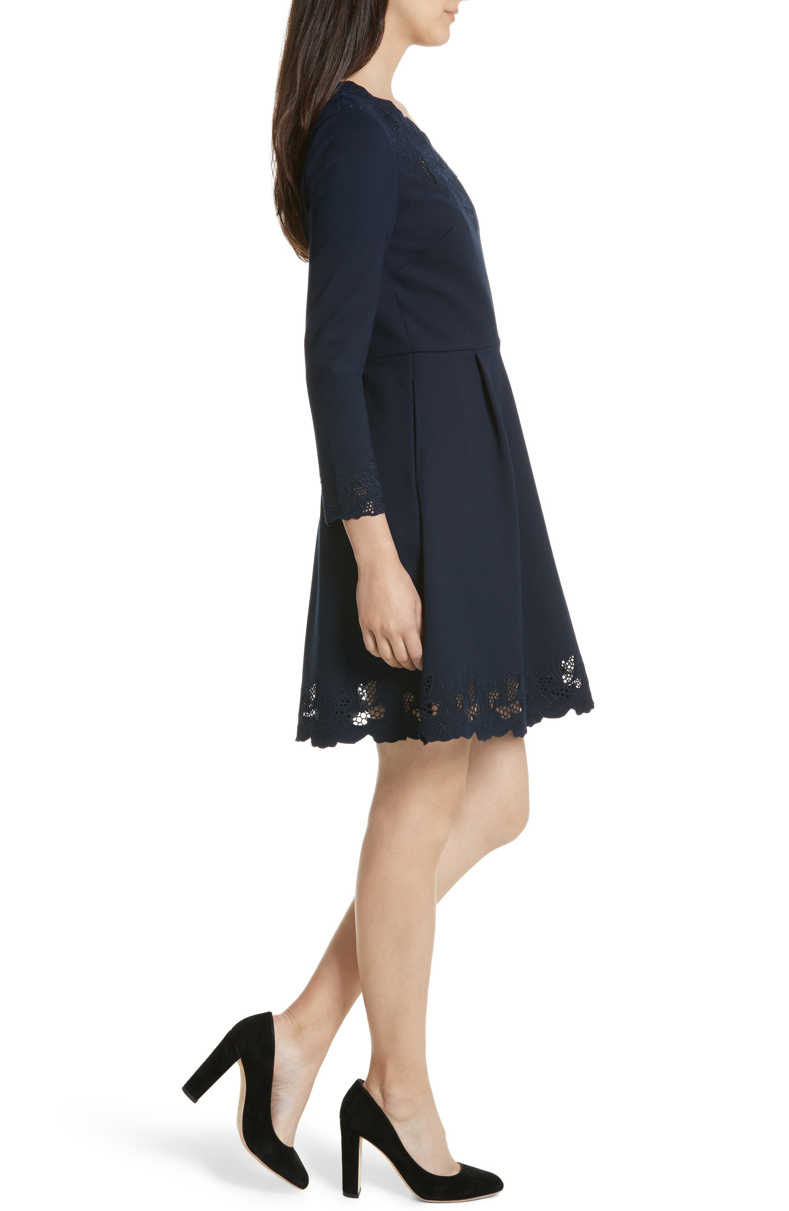 Emey Fit & Flare Dress,                             Alternate thumbnail 2, color,                             Navy