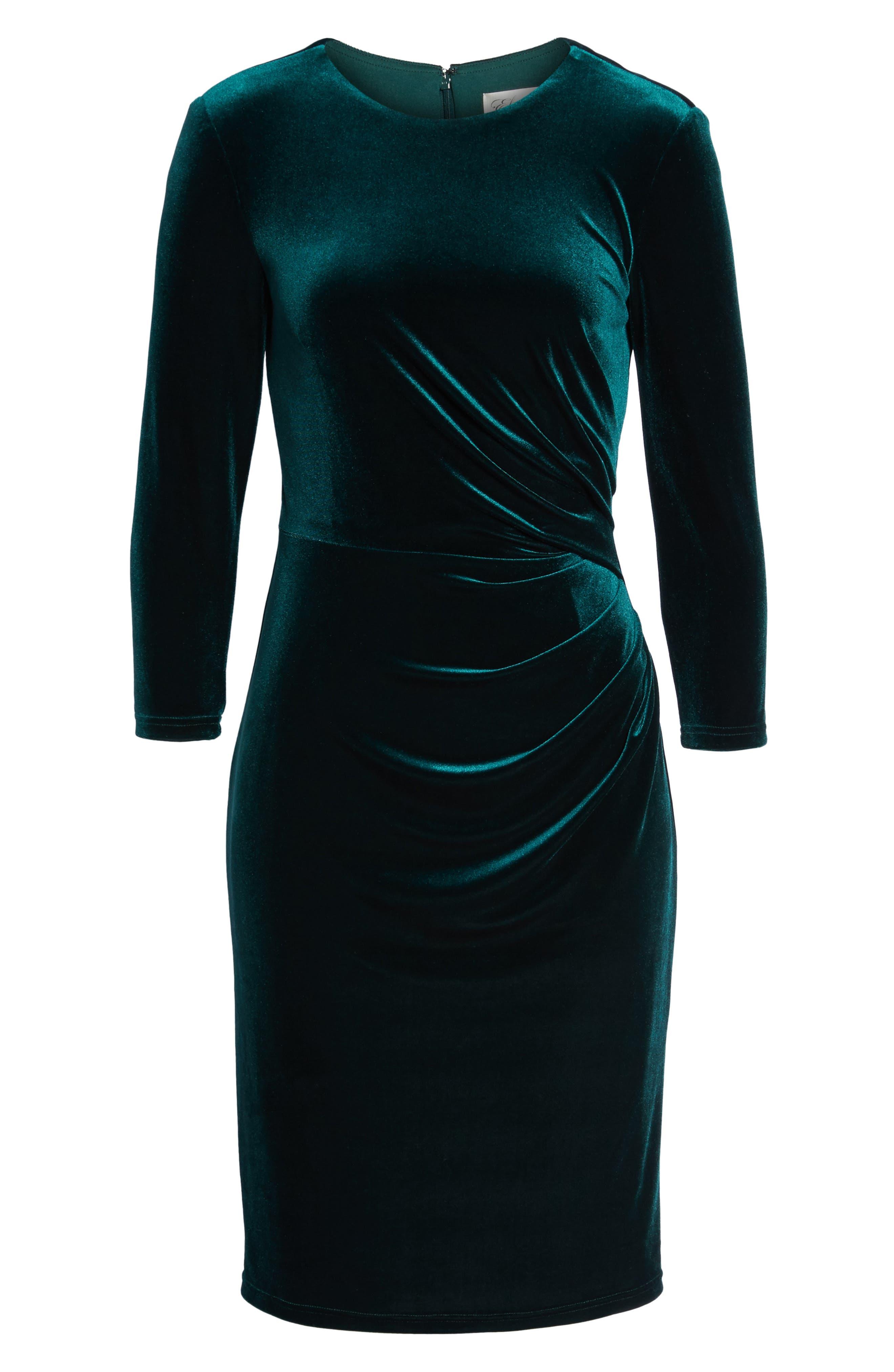 Velvet Sheath Dress,                             Alternate thumbnail 6, color,                             Hunter