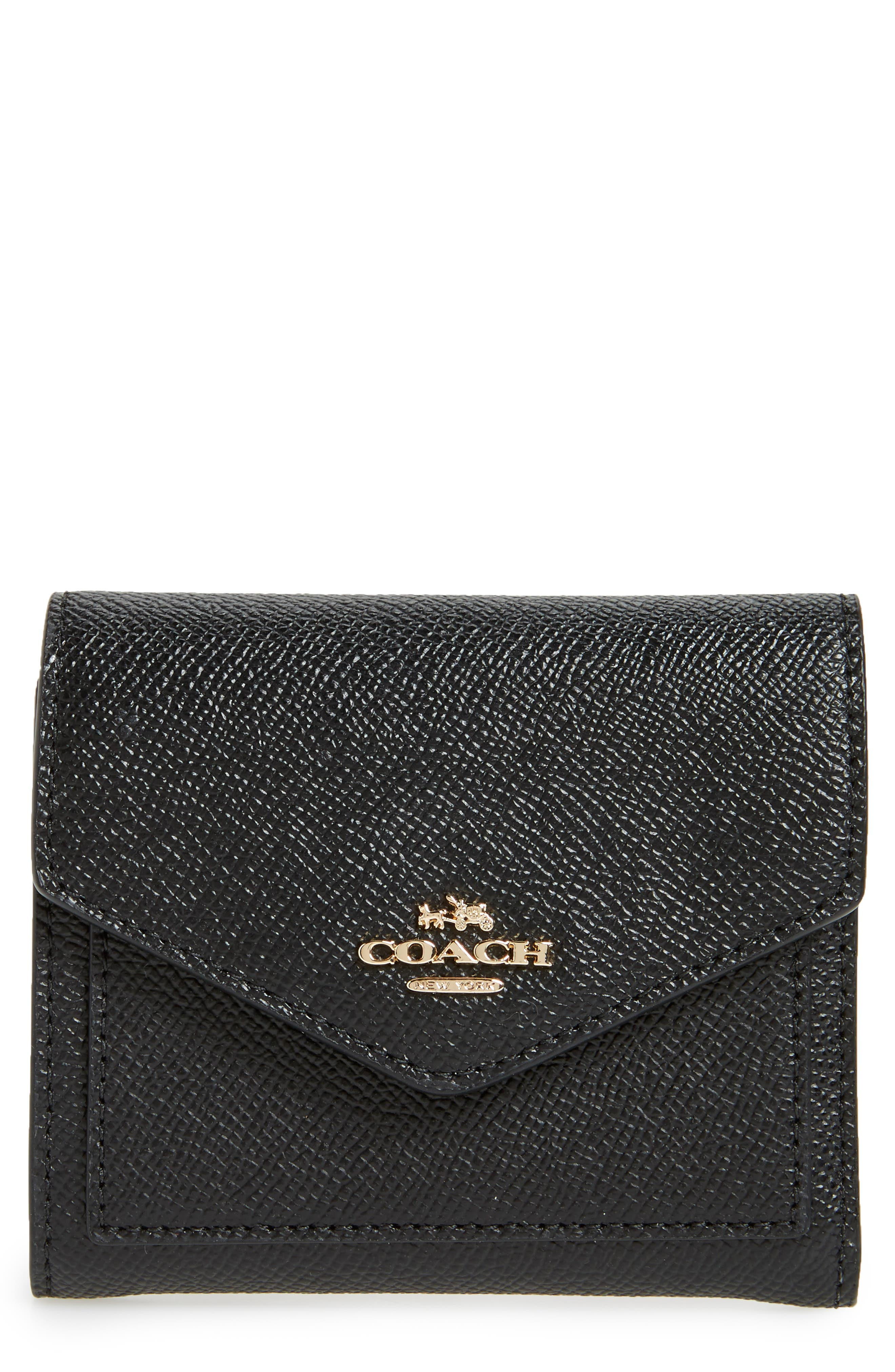 COACH Small Calfskin Leather Trifold Wallet
