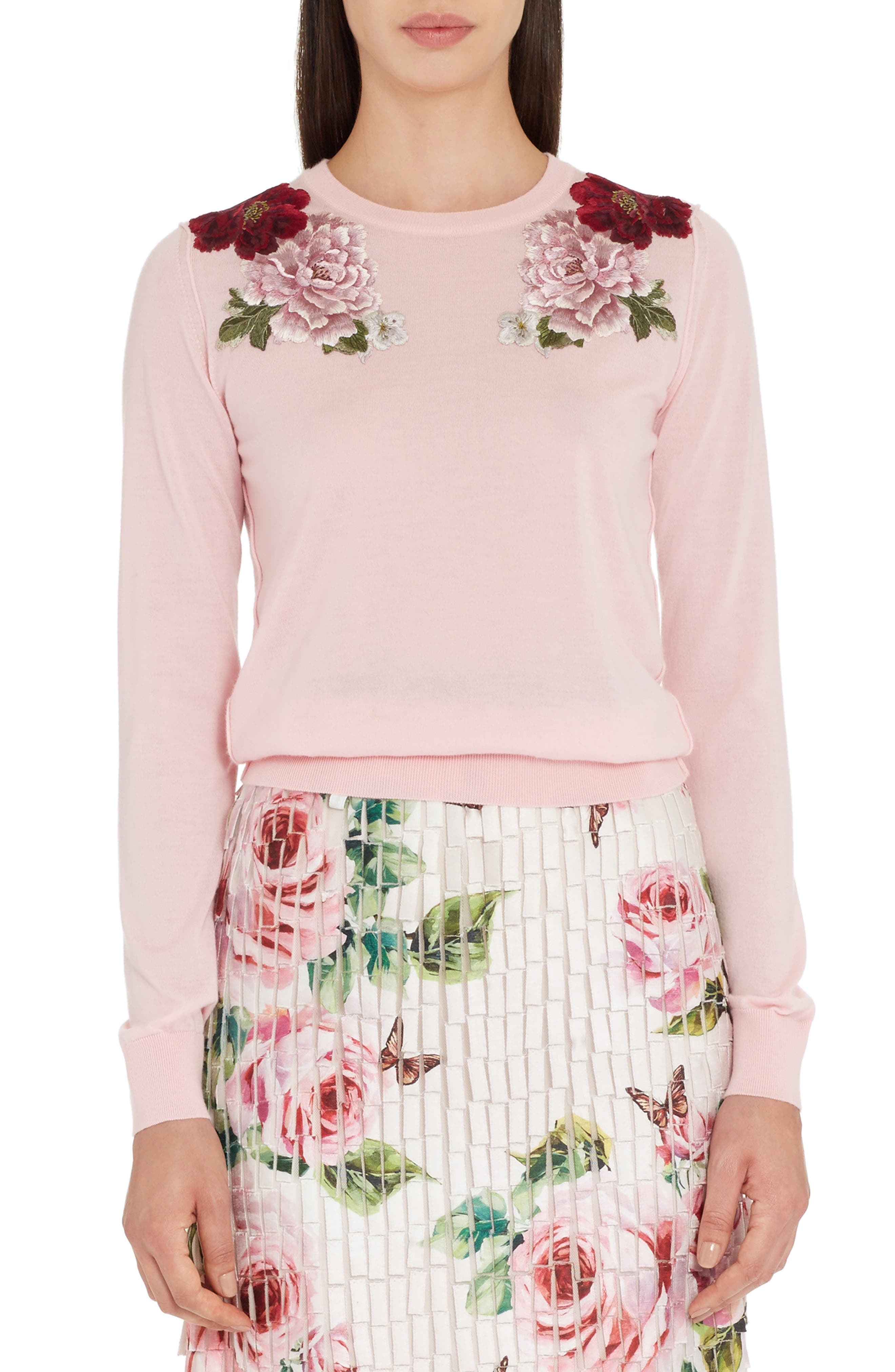 Embroidered Cashmere Sweater,                         Main,                         color, Light Pink