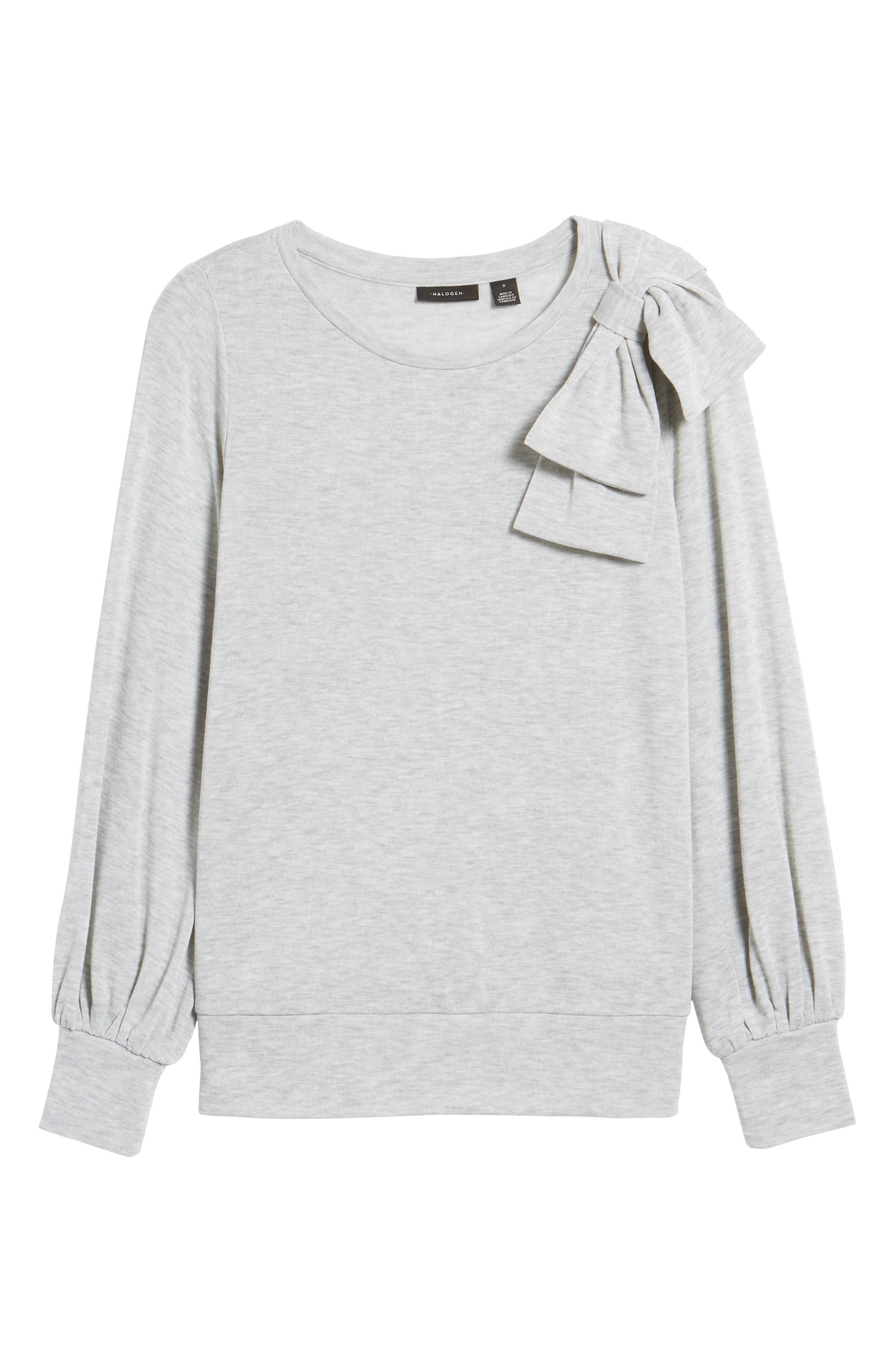 Bow Knit Sweatshirt,                             Alternate thumbnail 6, color,                             Grey Heather