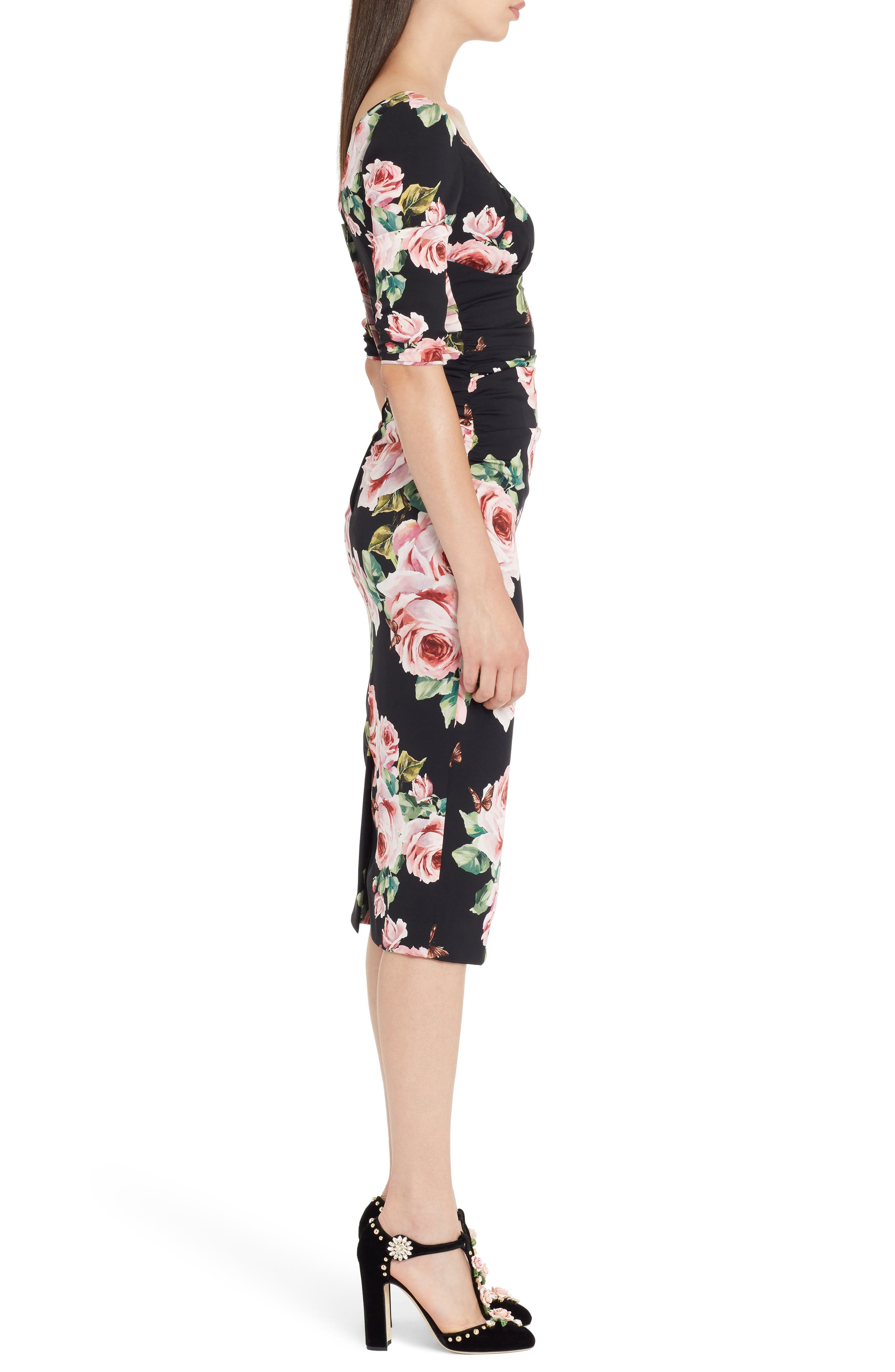 Alternate Image 3  - Dolce&Gabbana Rose Print Stretch Silk Dress