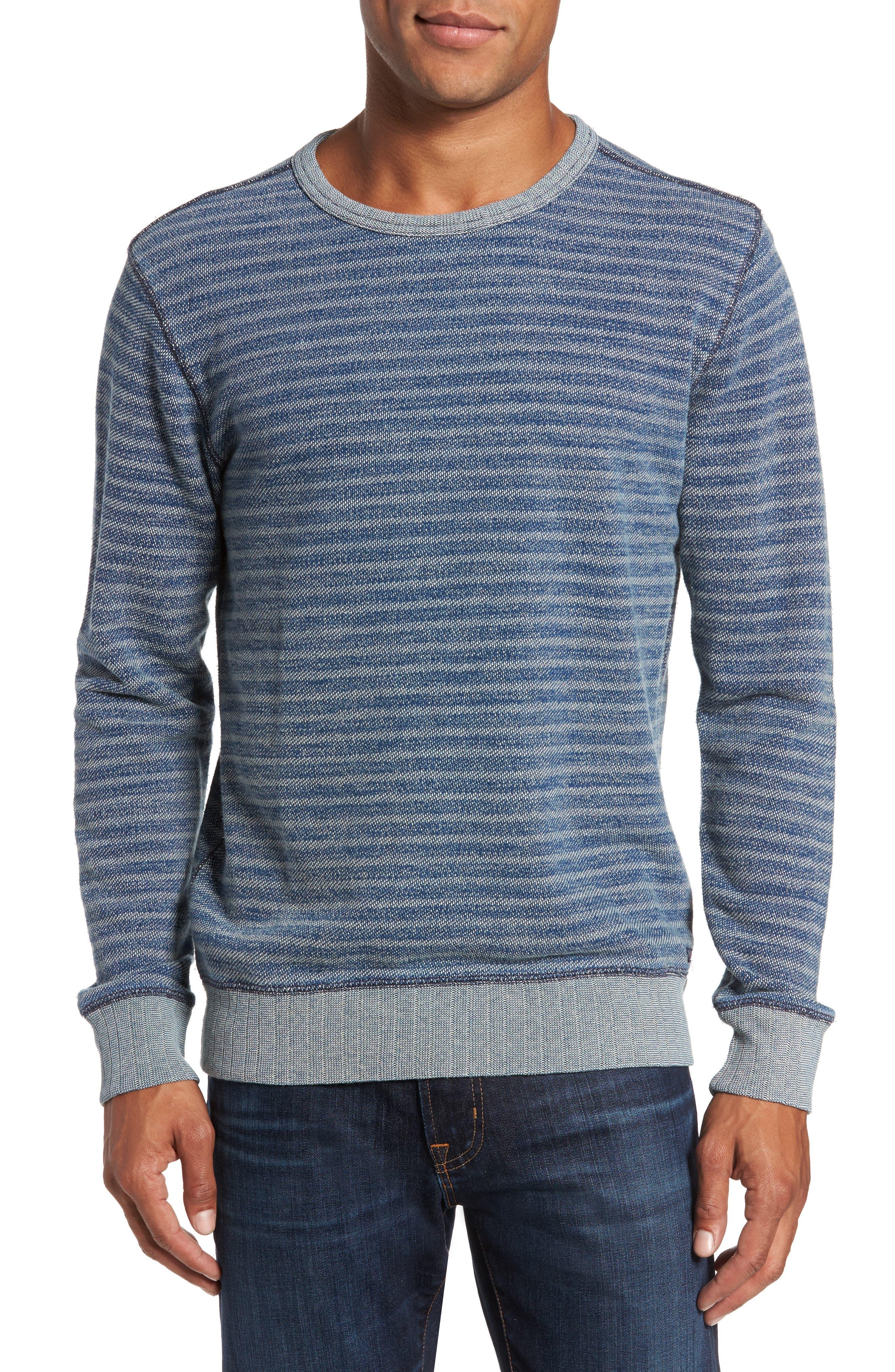Alternate Image 1 Selected - Faherty Stripe Crewneck Sweatshirt