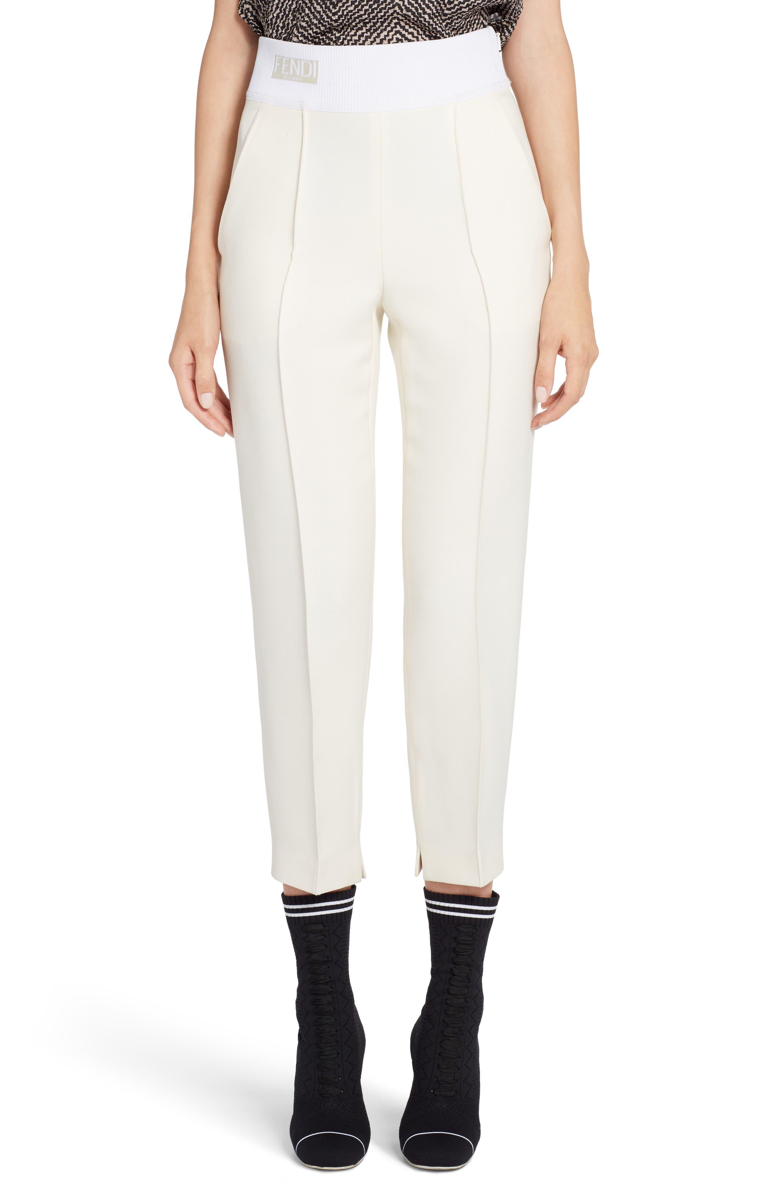 Fendi Wool & Silk Gazar Crop Pants