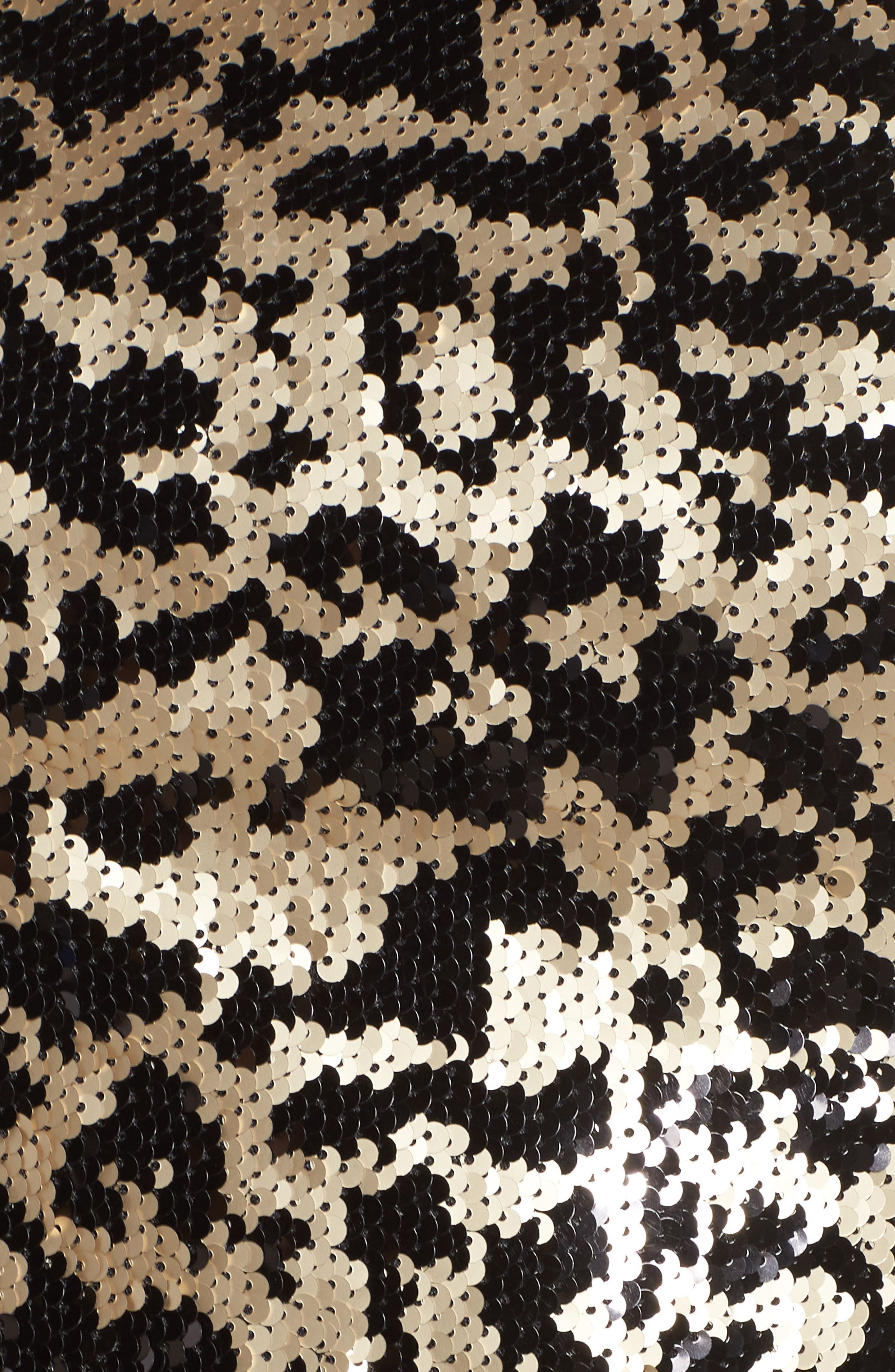 Sequin Leopard Bodice Belted Jumpsuit,                             Alternate thumbnail 5, color,                             Black Gold