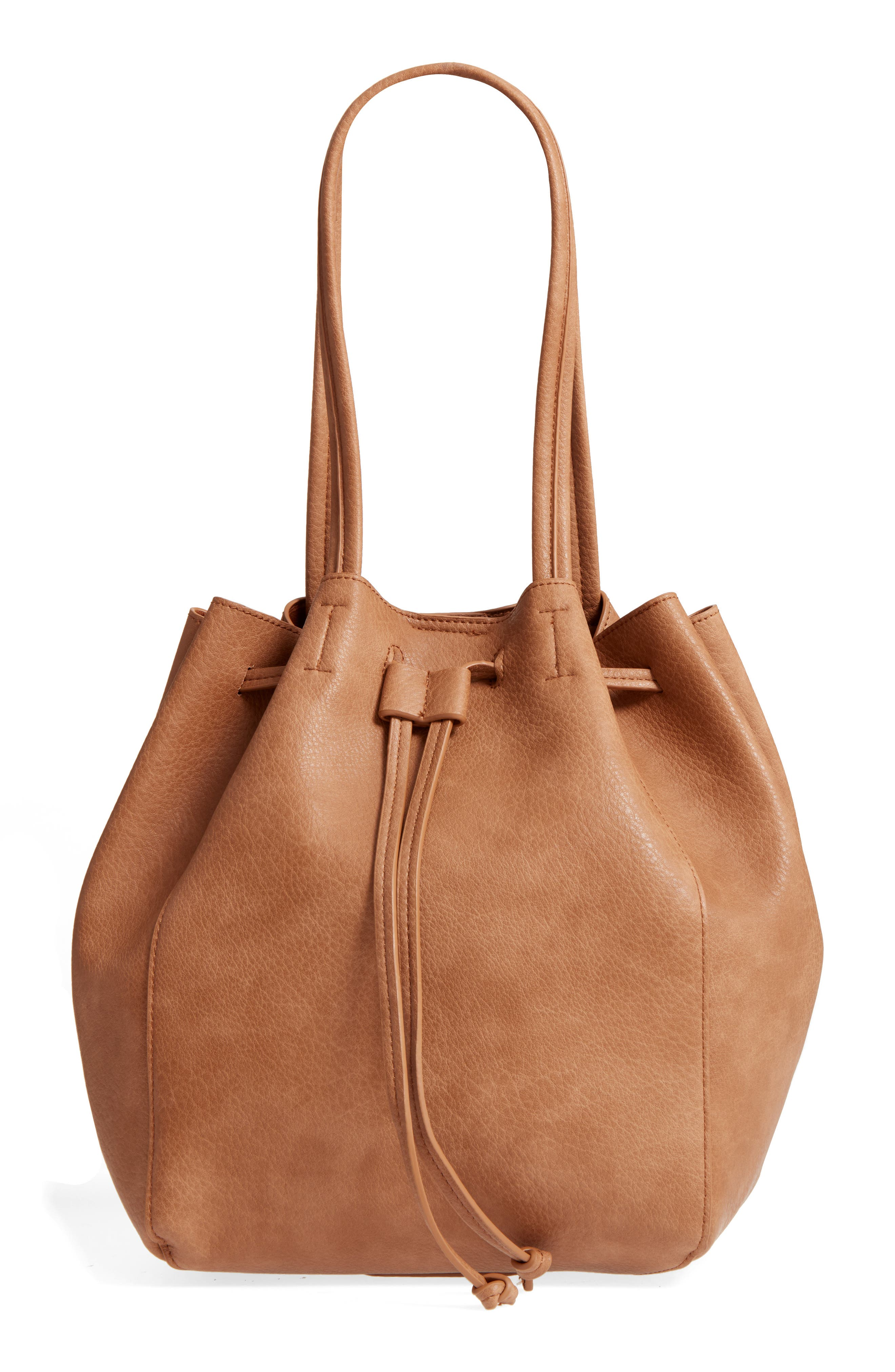 Faux Leather Drawstring Tote,                         Main,                         color, Tan