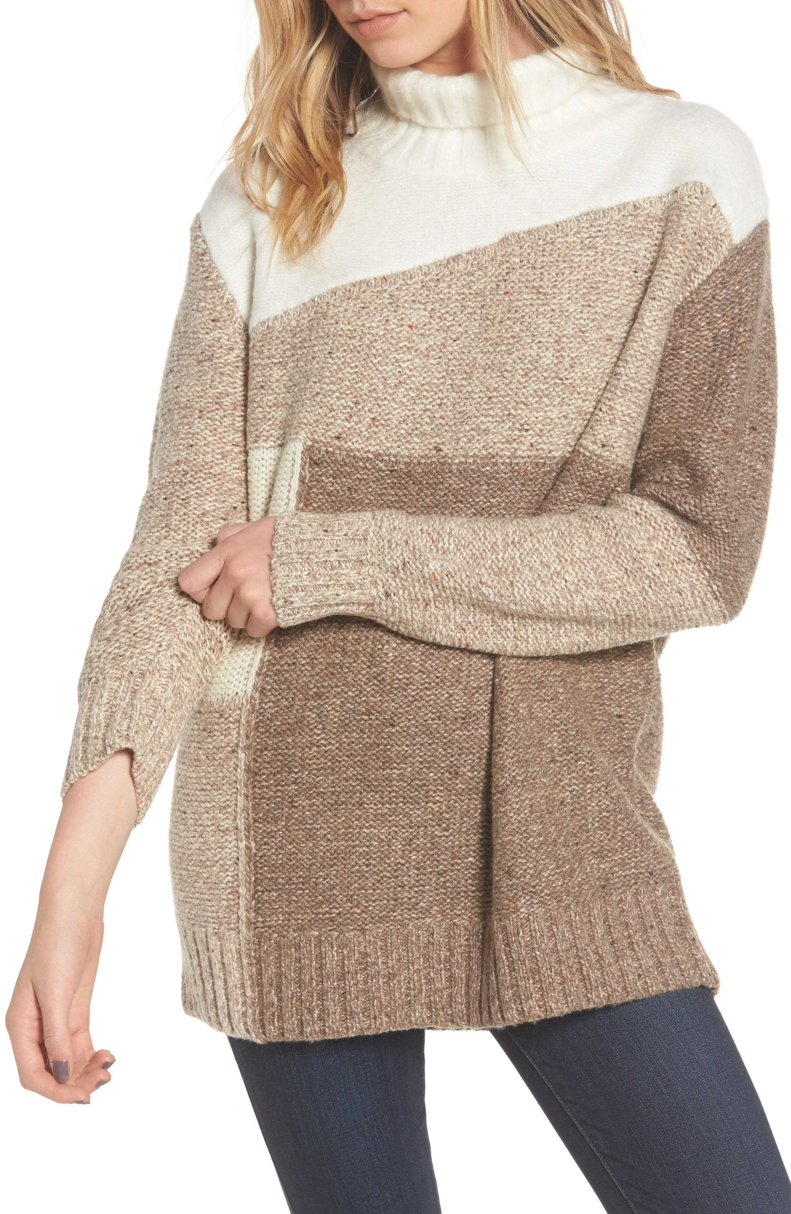 Anna Patchwork Turtleneck,                         Main,                         color, Winter White